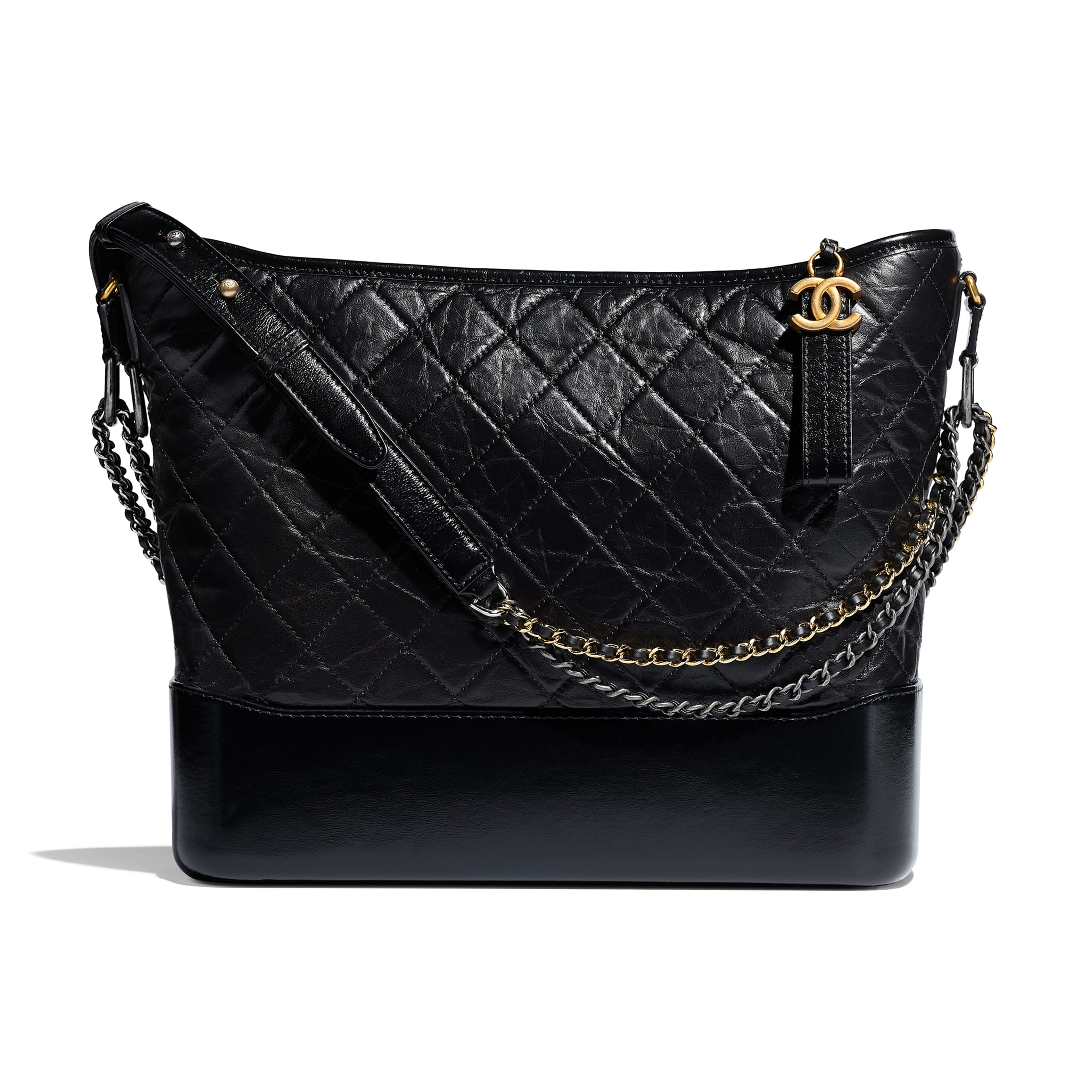 CHANEL'S GABRIELLE Large Hobo Bag - Black - Aged Calfskin, Smooth Calfskin, Silver-Tone & Gold-Tone Metal - Default view - see standard sized version