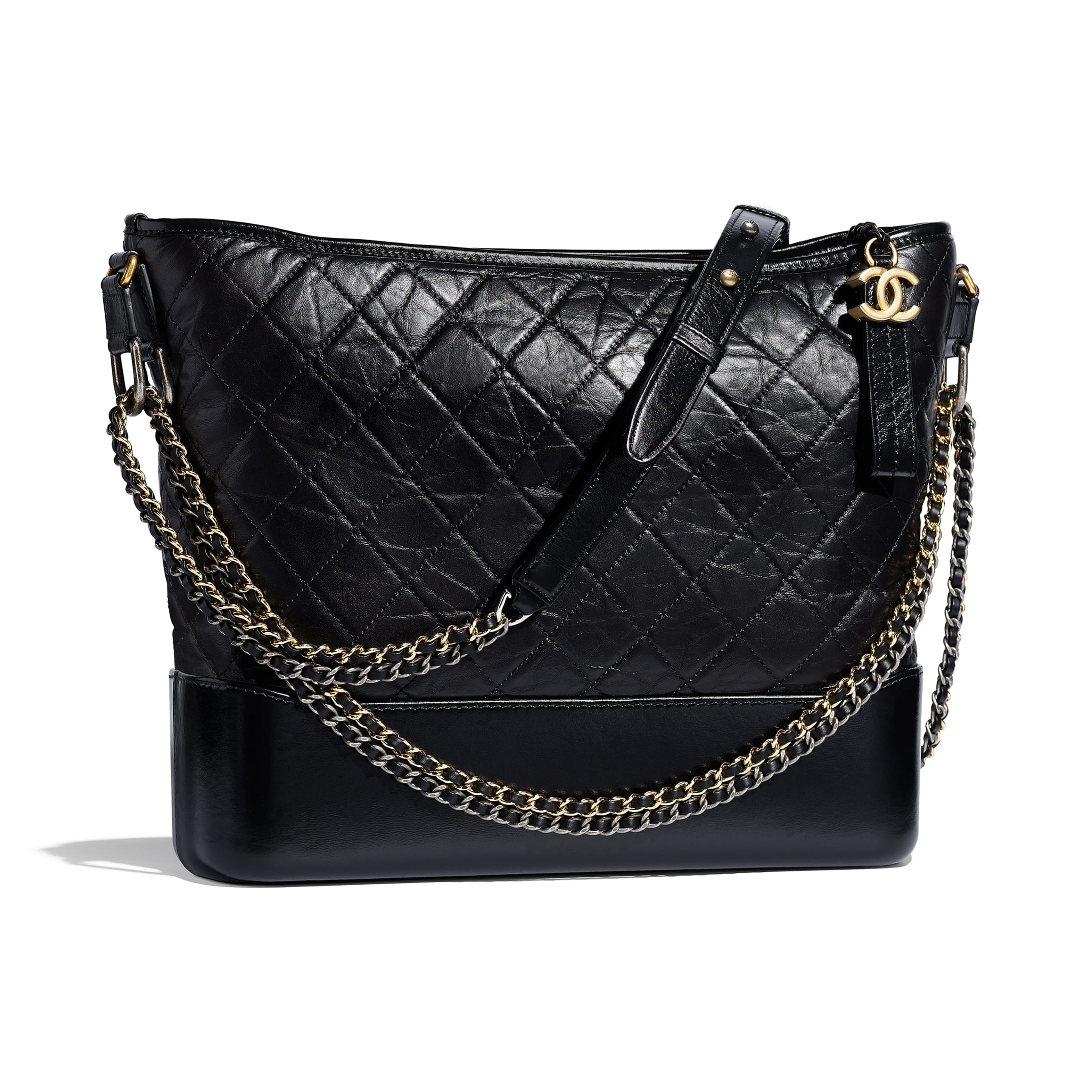 CHANEL'S GABRIELLE Large Hobo Bag - Black - Aged Calfskin, Smooth Calfskin, Silver-Tone & Gold-Tone Metal - Other view - see standard sized version
