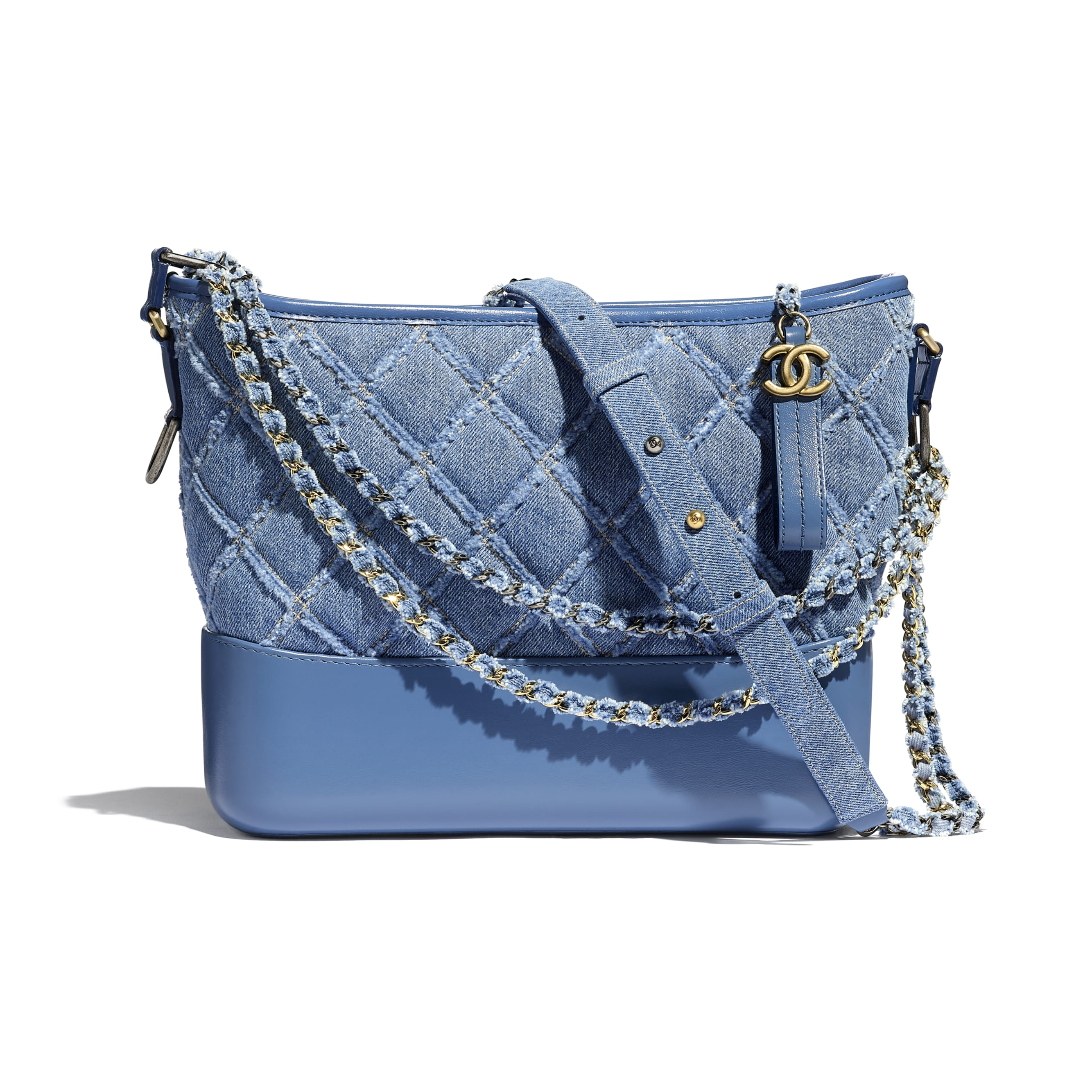 CHANEL'S GABRIELLE Large Hobo Bag - Blue - Denim, Calfskin, Gold-Tone, Silver-Tone & Ruthenium-Finish Metal - CHANEL - Default view - see standard sized version