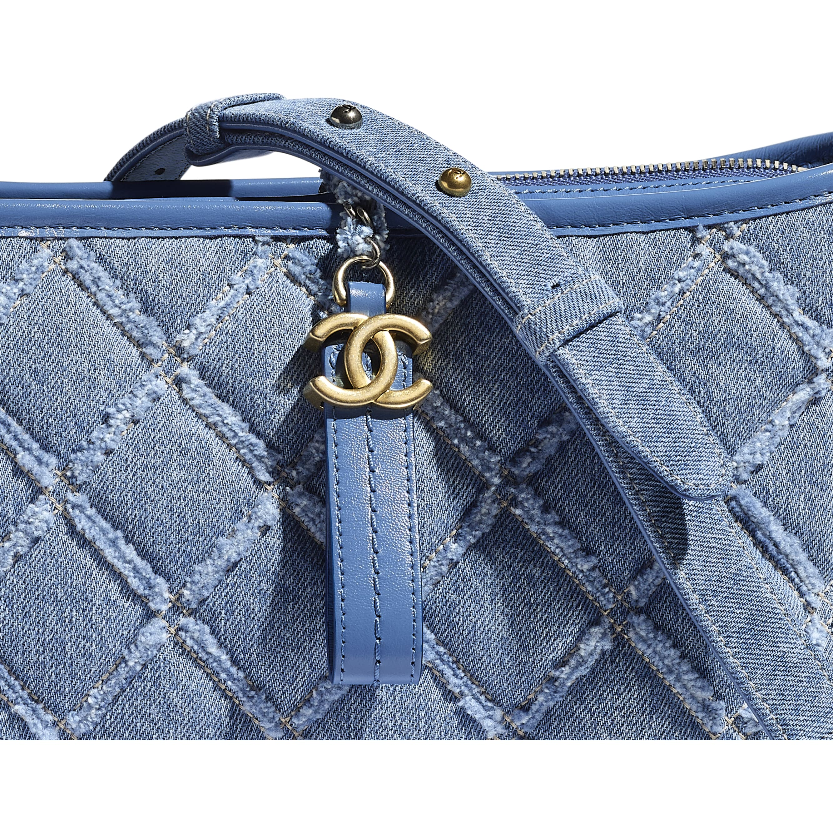 CHANEL'S GABRIELLE Large Hobo Bag - Blue - Denim, Calfskin, Gold-Tone, Silver-Tone & Ruthenium-Finish Metal - CHANEL - Extra view - see standard sized version