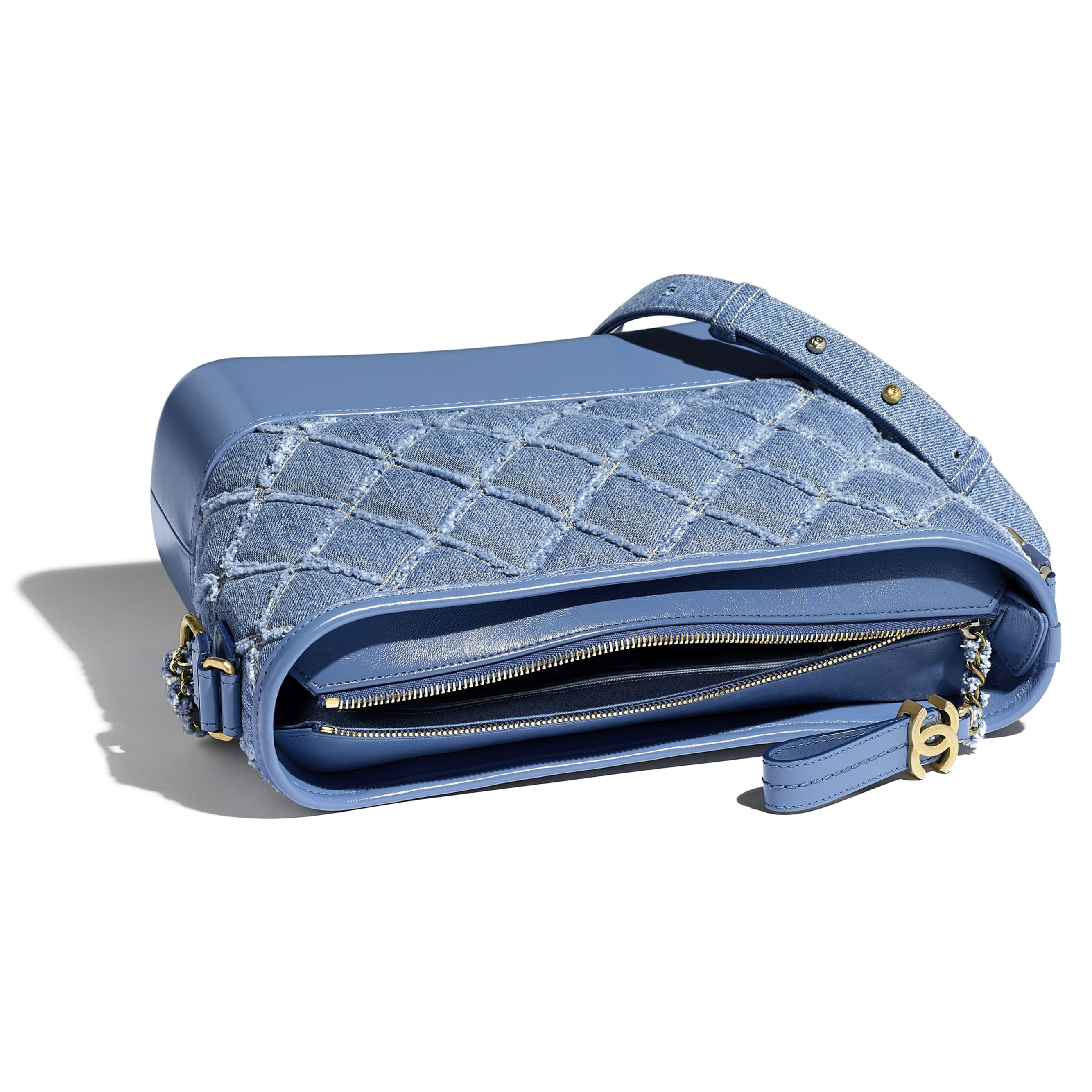 CHANEL'S GABRIELLE Large Hobo Bag - Blue - Denim, Calfskin, Gold-Tone, Silver-Tone & Ruthenium-Finish Metal - CHANEL - Other view - see standard sized version