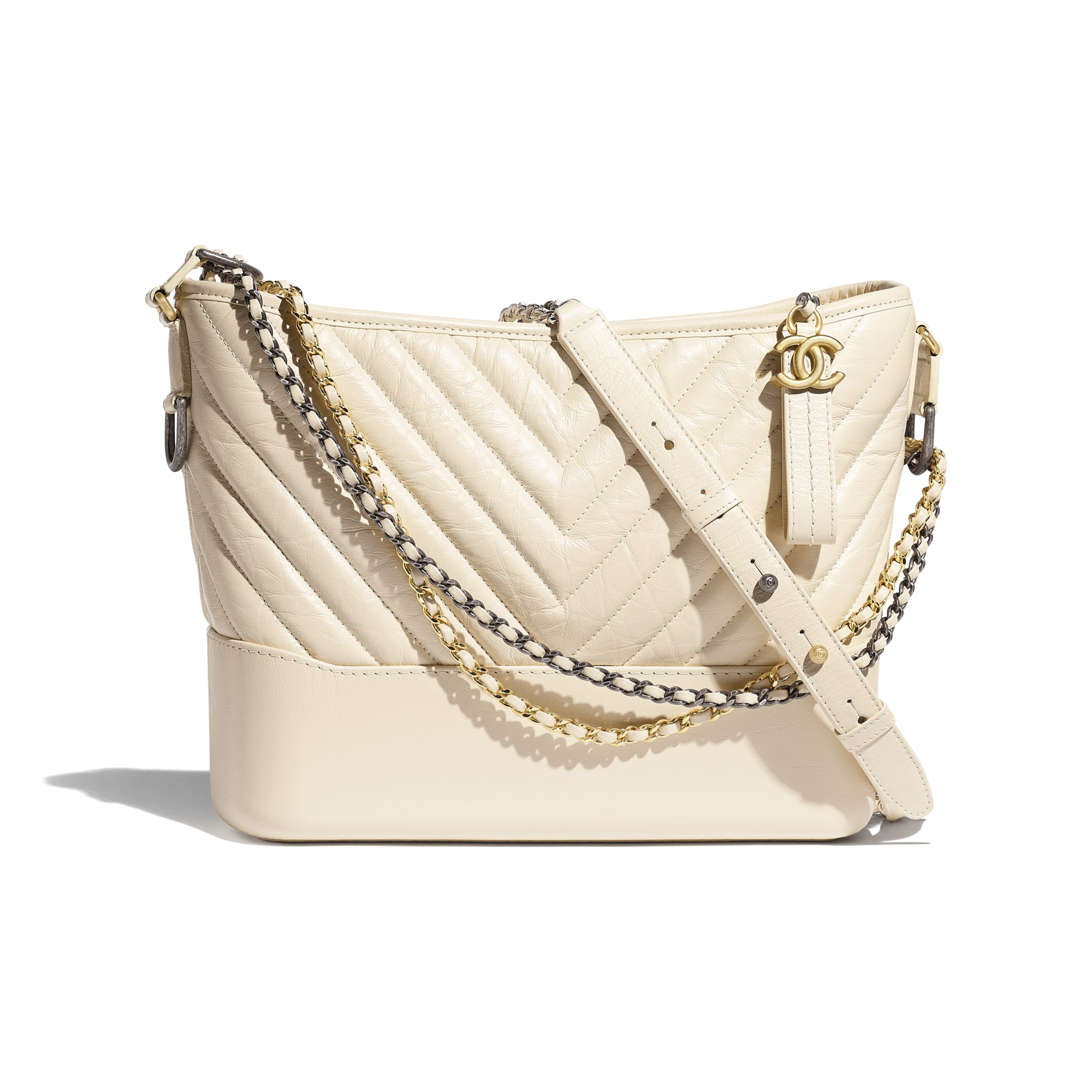 CHANEL'S GABRIELLE Large Hobo Bag - Light Beige - Aged Calfskin, Smooth Calfskin, Gold-Tone & Silver-Tone Metal - CHANEL - Default view - see standard sized version