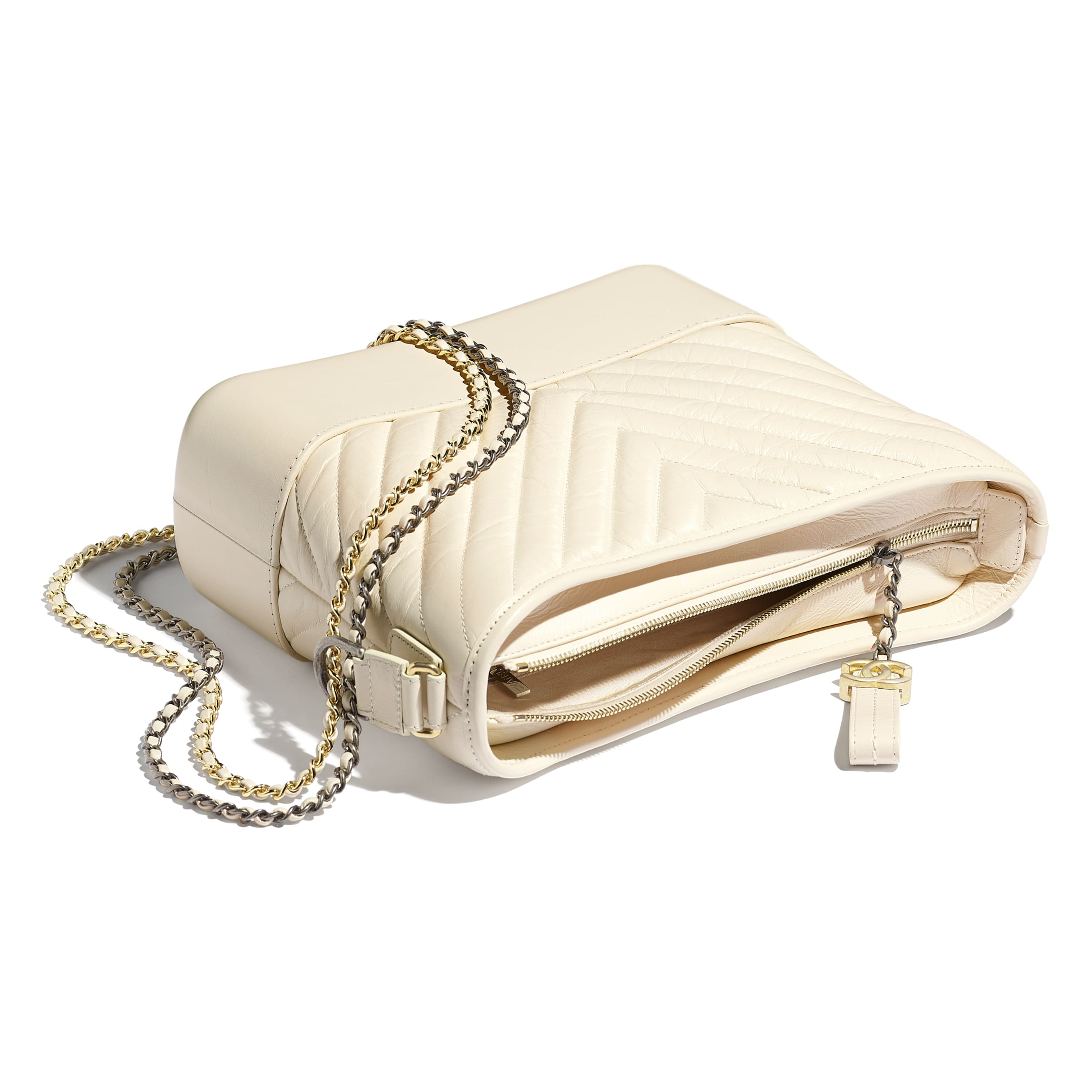 CHANEL'S GABRIELLE Large Hobo Bag - Light Beige - Aged Calfskin, Smooth Calfskin, Gold-Tone & Silver-Tone Metal - CHANEL - Other view - see standard sized version