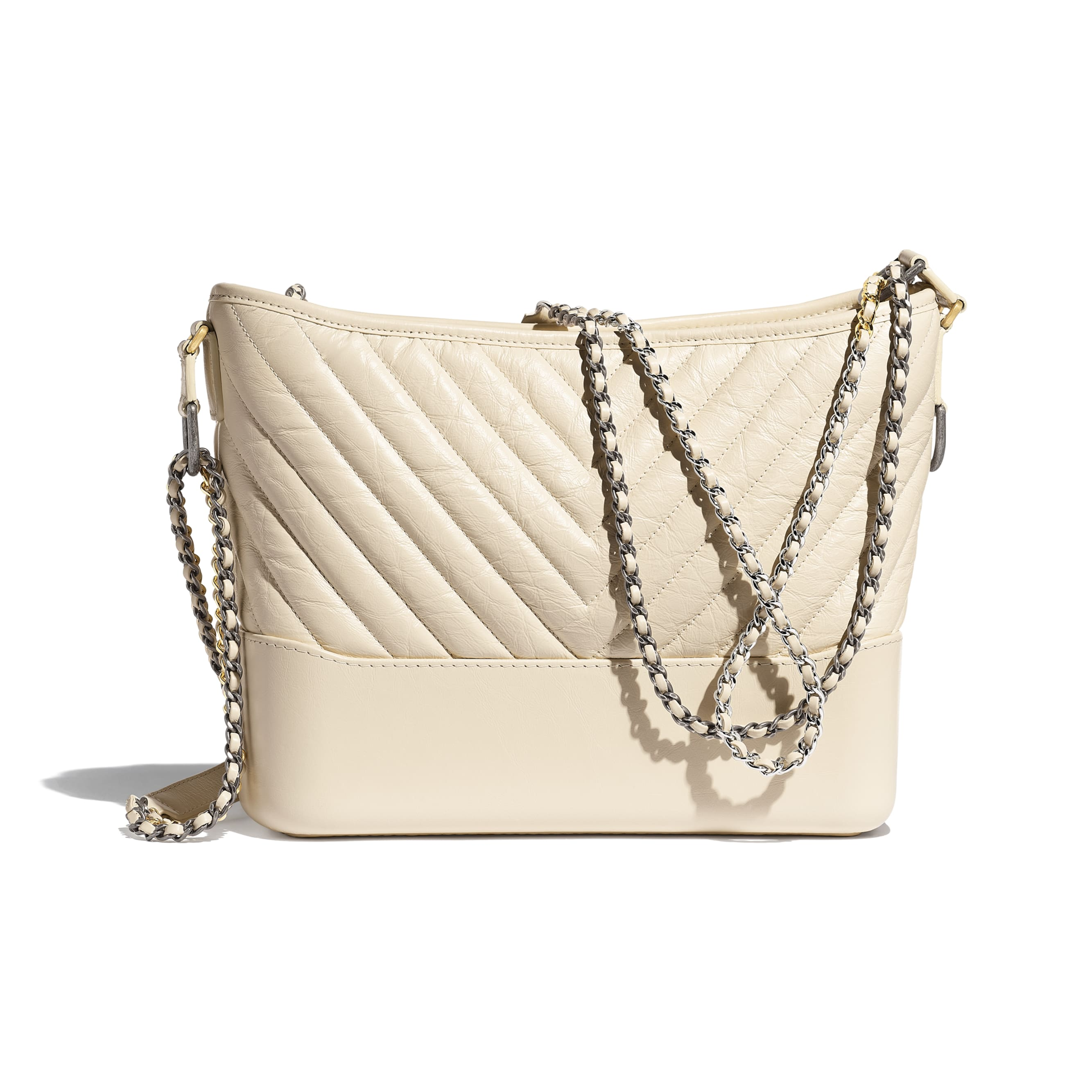CHANEL'S GABRIELLE Large Hobo Bag - Light Beige - Aged Calfskin, Smooth Calfskin, Gold-Tone, Silver-Tone & Ruthenium-Finish Metal - CHANEL - Alternative view - see standard sized version
