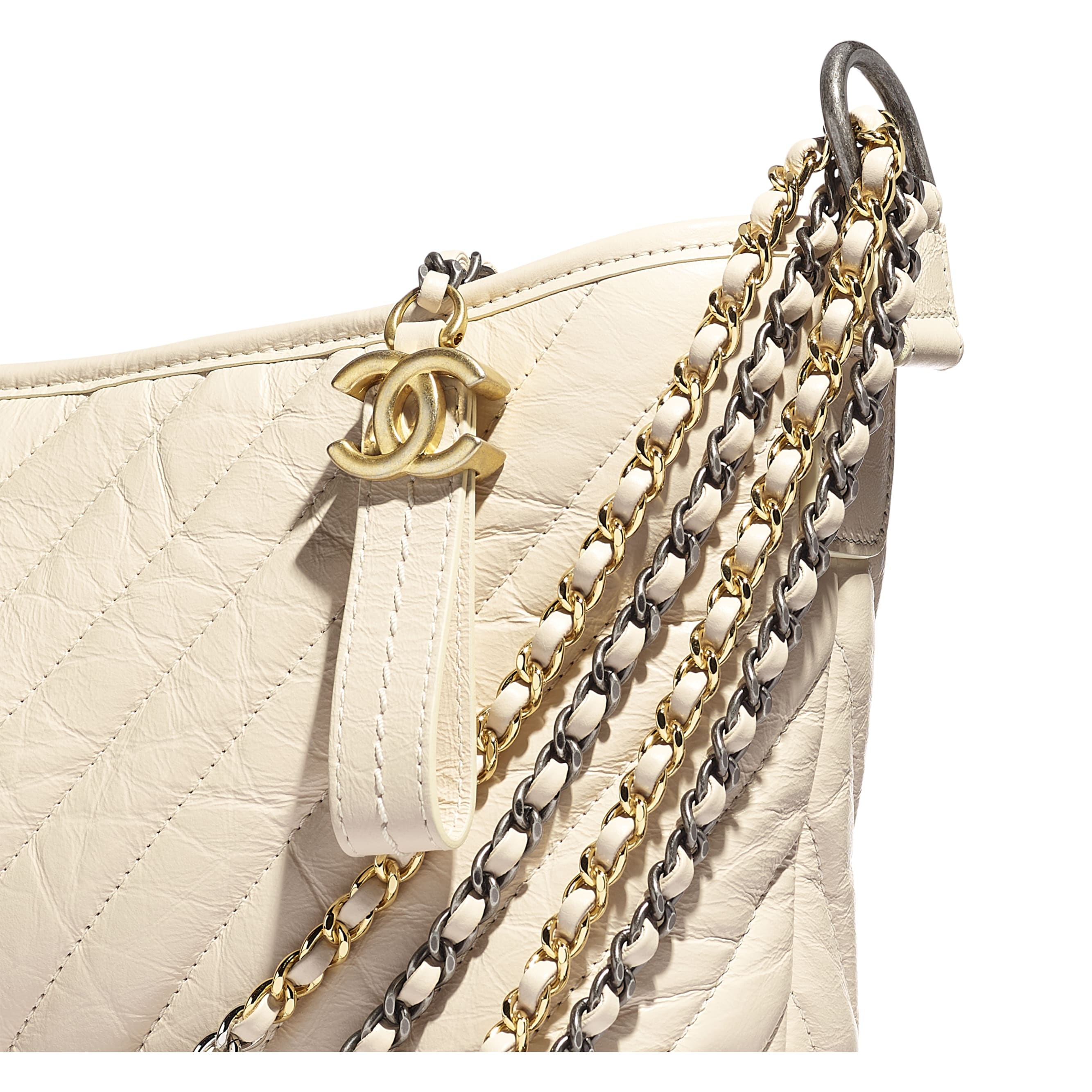 CHANEL'S GABRIELLE Large Hobo Bag - Light Beige - Aged Calfskin, Smooth Calfskin, Gold-Tone, Silver-Tone & Ruthenium-Finish Metal - CHANEL - Extra view - see standard sized version