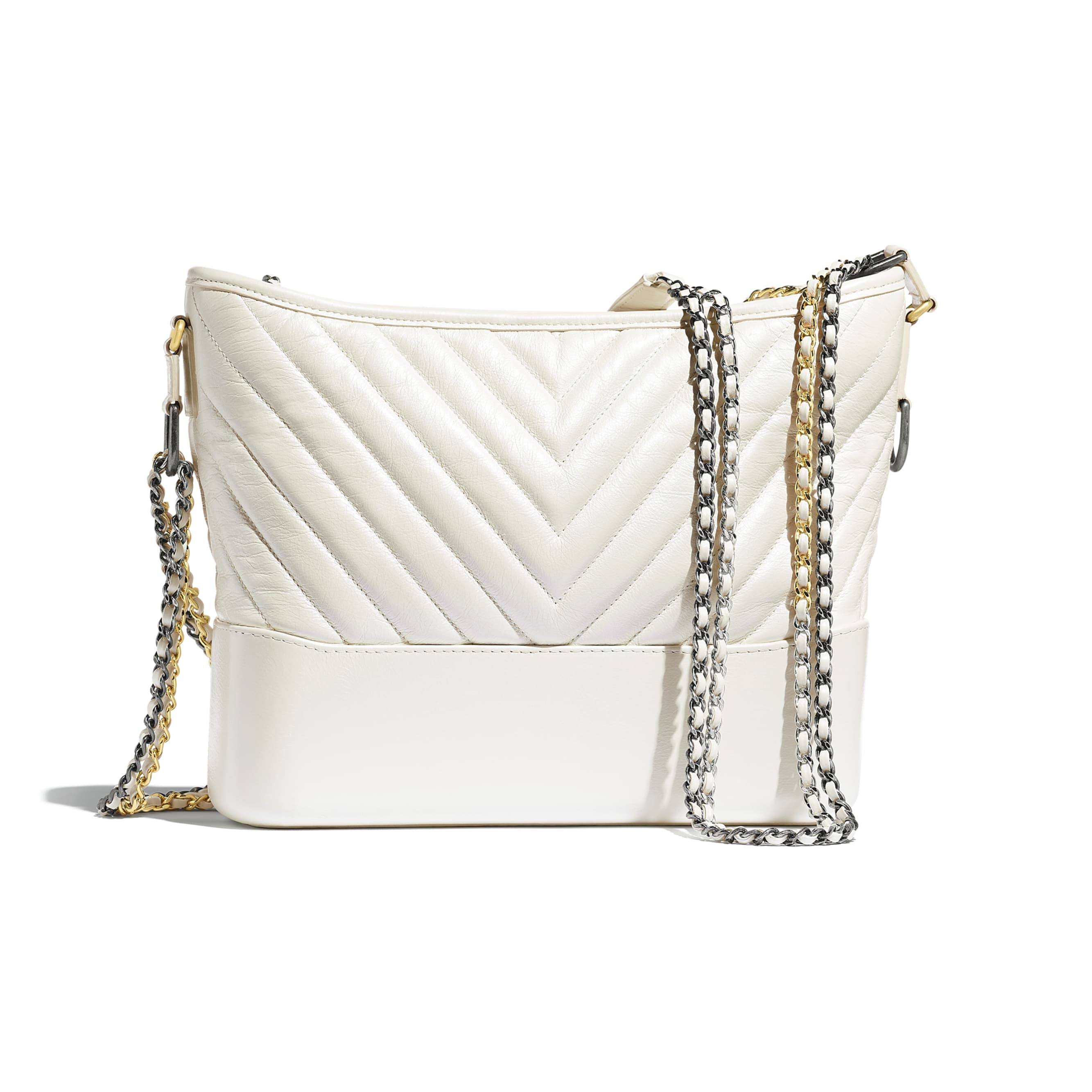 CHANEL'S GABRIELLE Large Hobo Bag - White - Metallic Crumpled Calfskin, Gold-Tone & Silver-Tone Metal - Alternative view - see standard sized version