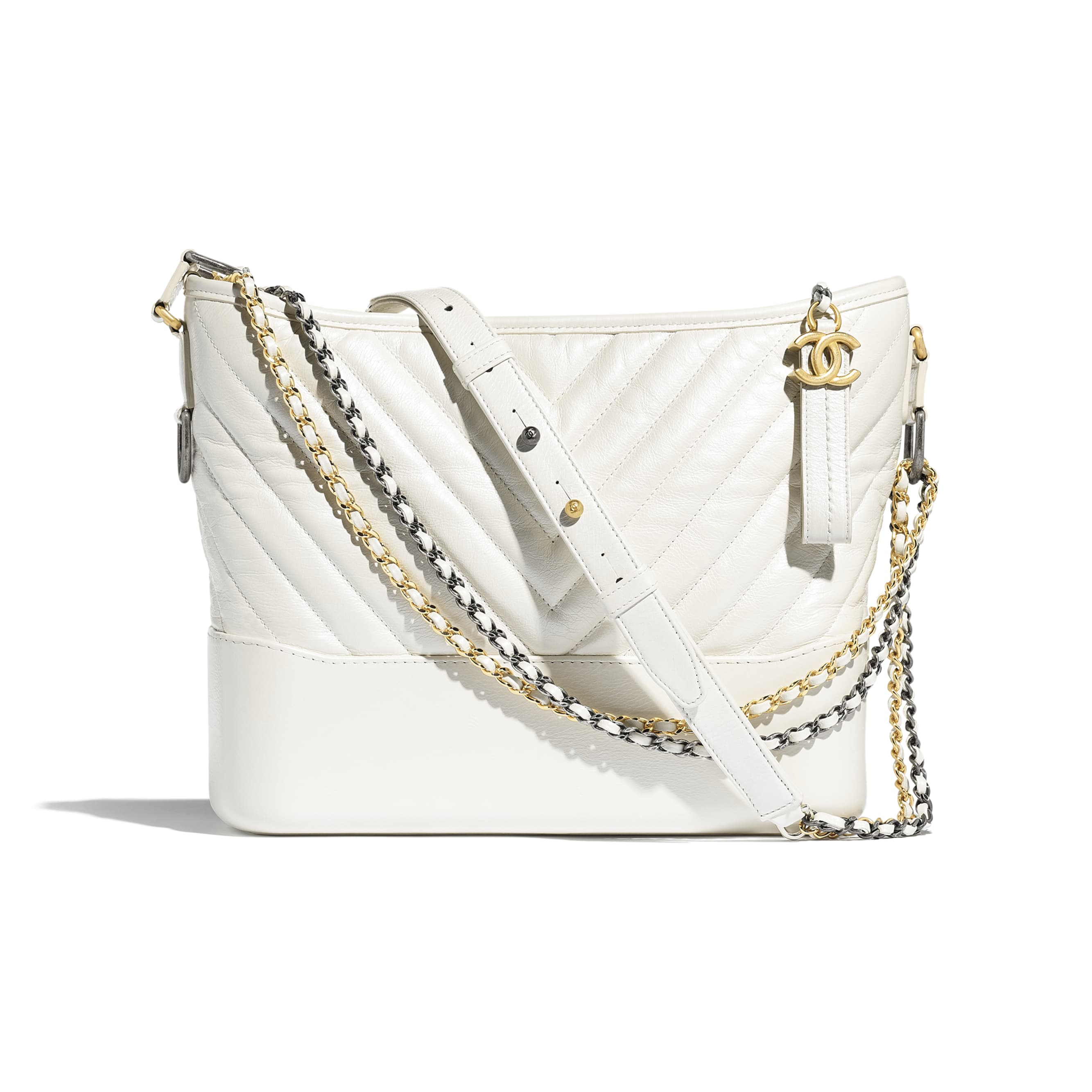 CHANEL'S GABRIELLE Large Hobo Bag - White - Metallic Crumpled Calfskin, Gold-Tone & Silver-Tone Metal - Default view - see standard sized version