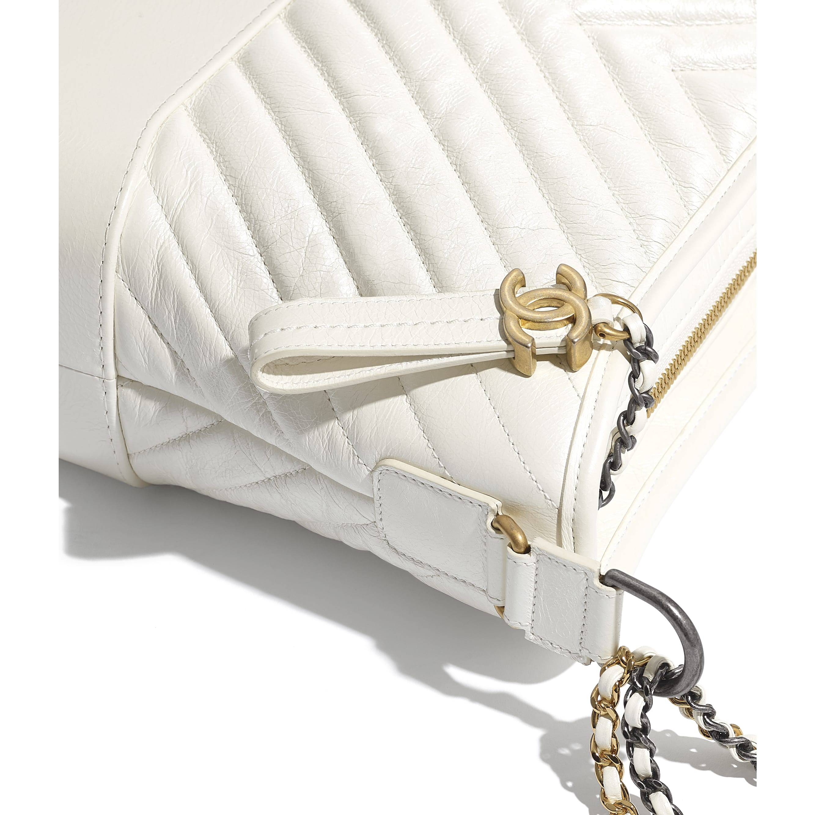 CHANEL'S GABRIELLE Large Hobo Bag - White - Metallic Crumpled Calfskin, Gold-Tone & Silver-Tone Metal - Extra view - see standard sized version