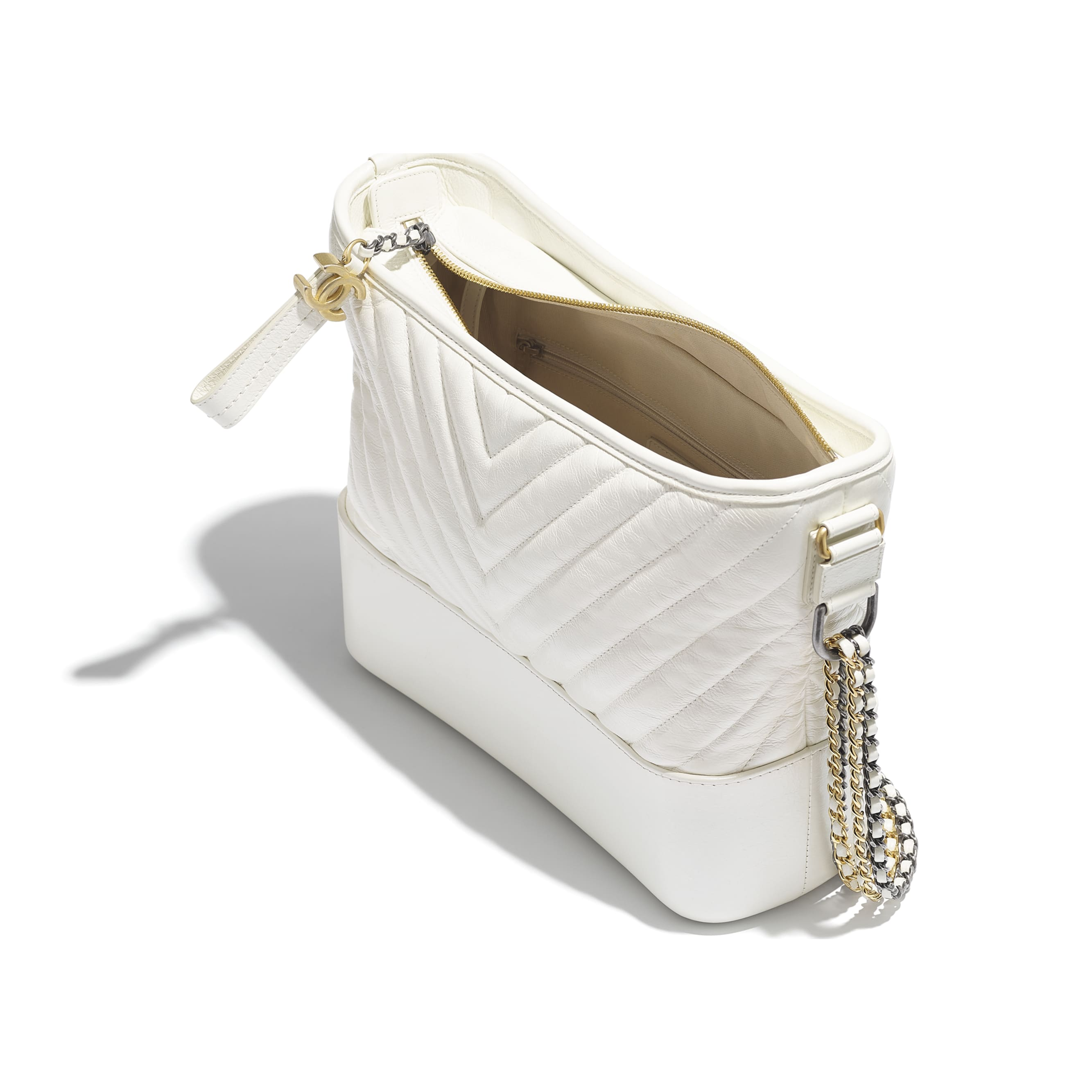 CHANEL'S GABRIELLE Large Hobo Bag - White - Metallic Crumpled Calfskin, Gold-Tone & Silver-Tone Metal - Other view - see standard sized version