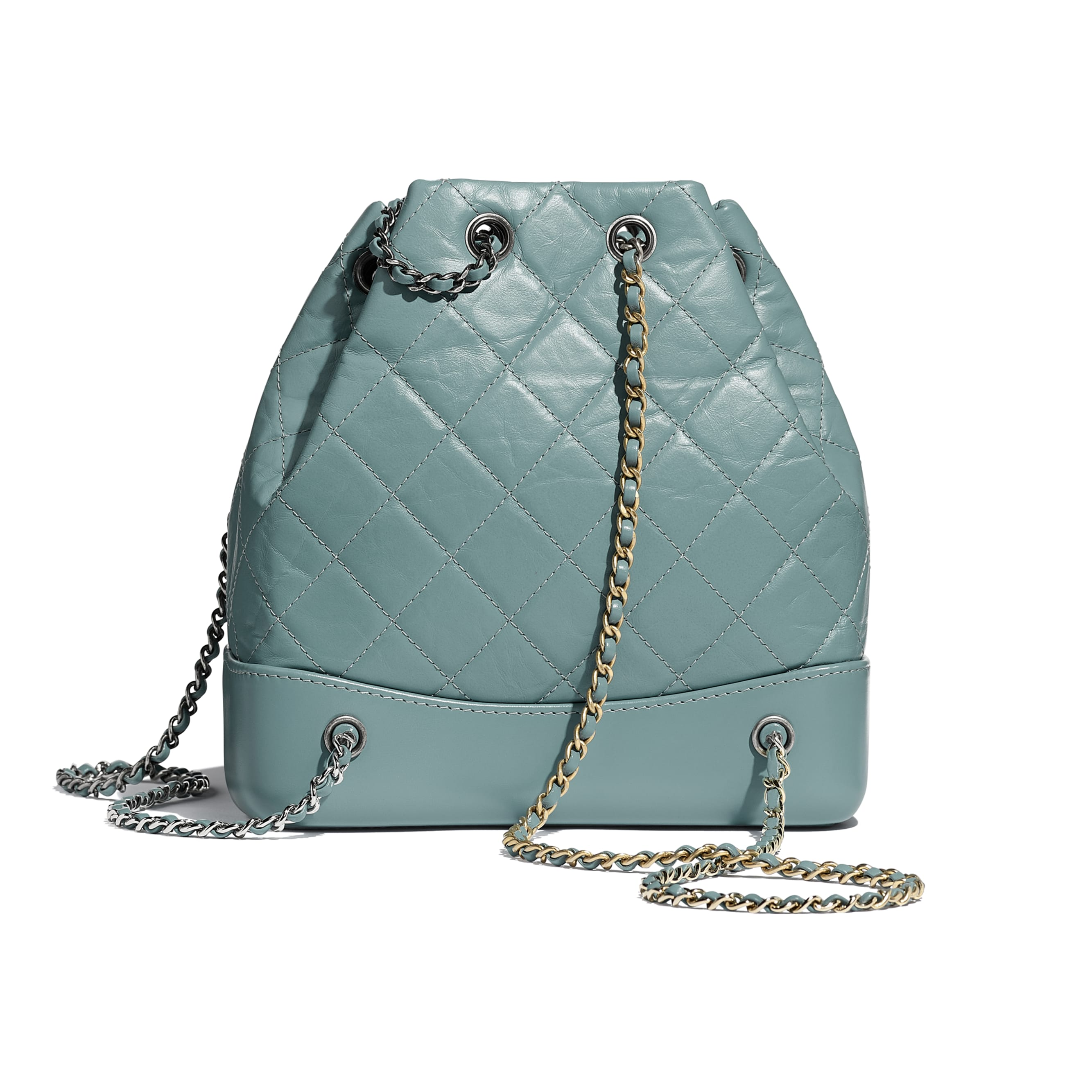 CHANEL'S GABRIELLE Small Backpack - Blue - Aged Calfskin, Smooth Calfskin, Silver-Tone & Gold-Tone Metal - Alternative view - see standard sized version