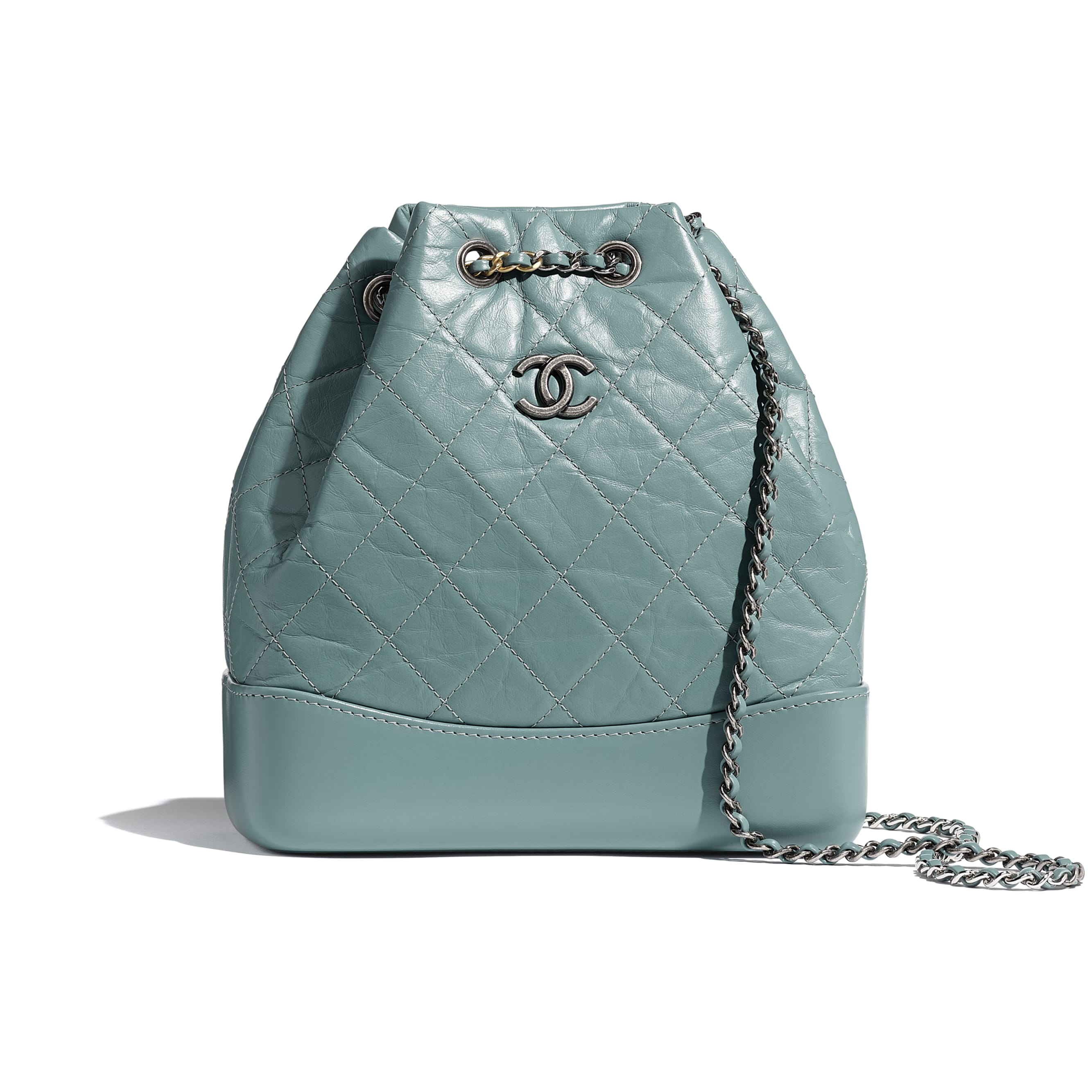 CHANEL'S GABRIELLE Small Backpack - Blue - Aged Calfskin, Smooth Calfskin, Silver-Tone & Gold-Tone Metal - Default view - see standard sized version