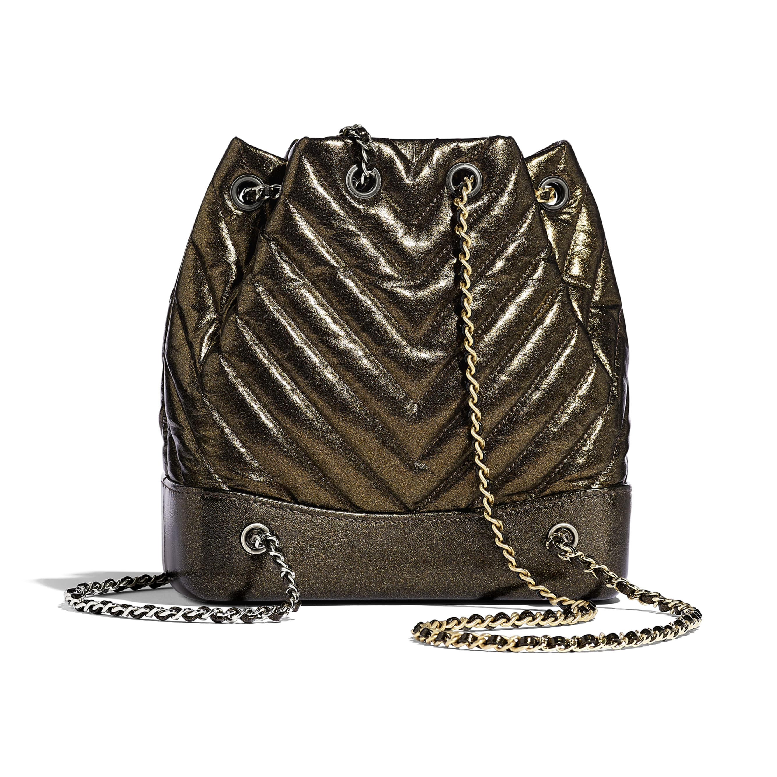 CHANEL'S GABRIELLE Small Backpack - Gold - Aged Calfskin, Silver-Tone & Gold-Tone Metal - Alternative view - see standard sized version