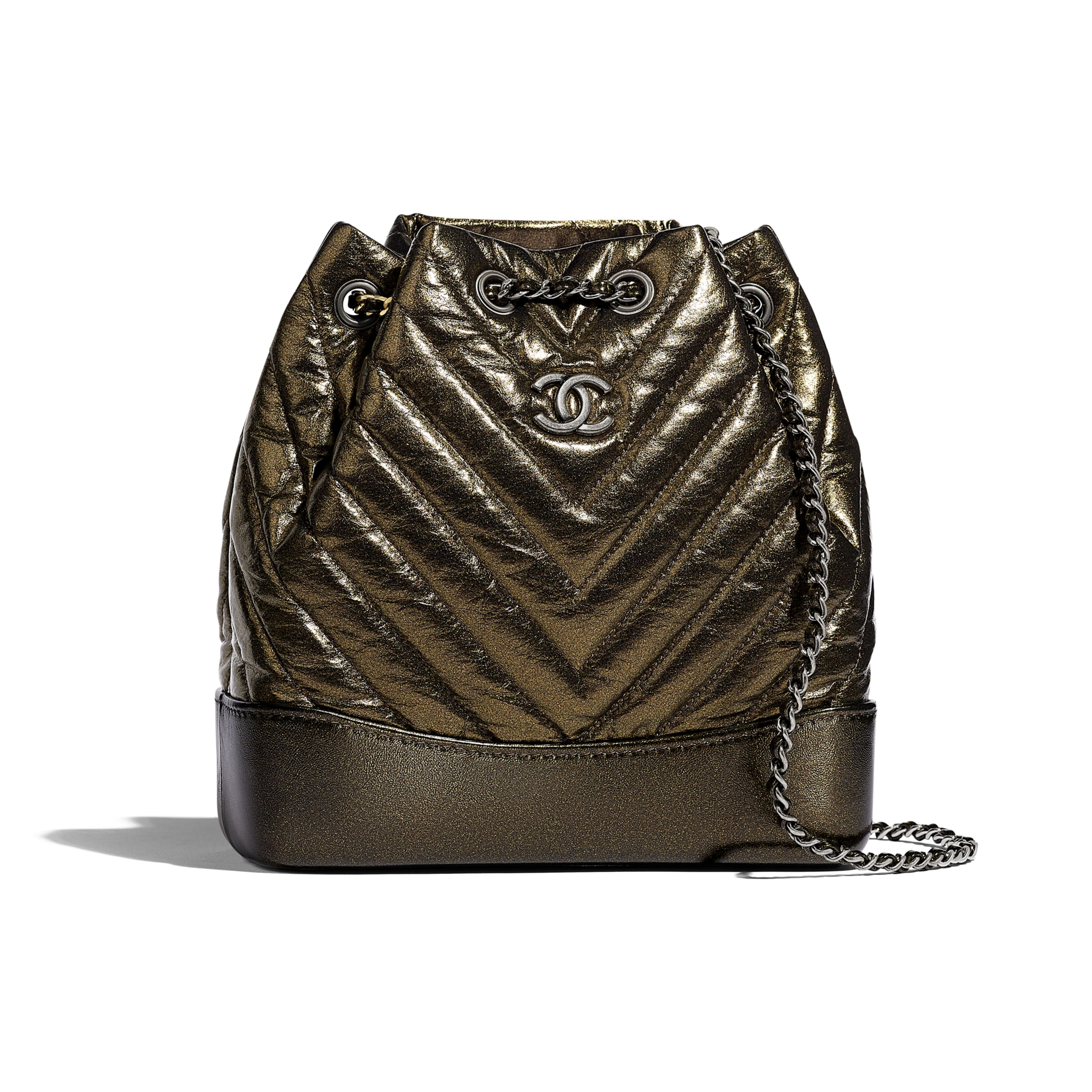CHANEL'S GABRIELLE Small Backpack - Gold - Aged Calfskin, Silver-Tone & Gold-Tone Metal - Default view - see standard sized version