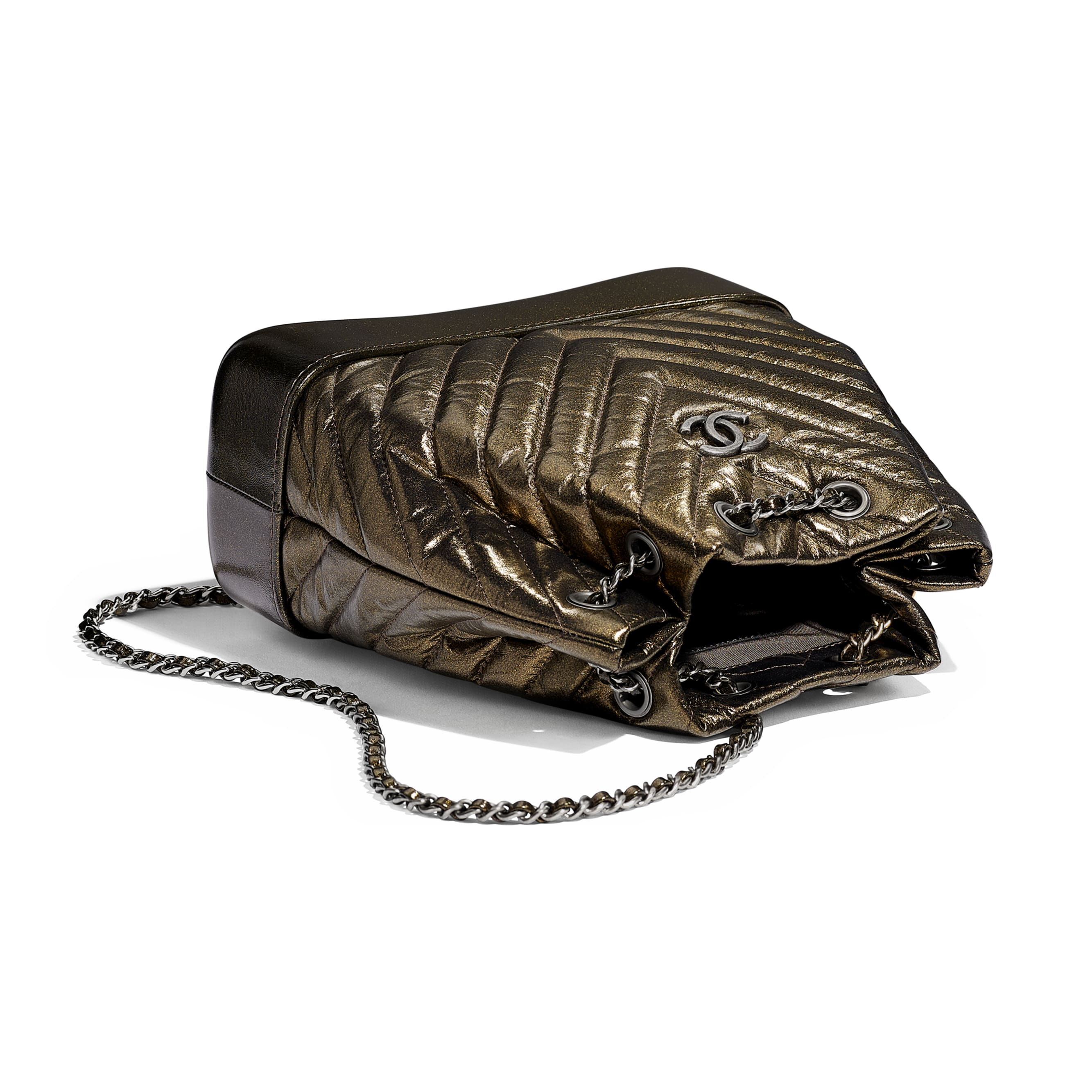 CHANEL'S GABRIELLE Small Backpack - Gold - Aged Calfskin, Silver-Tone & Gold-Tone Metal - Other view - see standard sized version