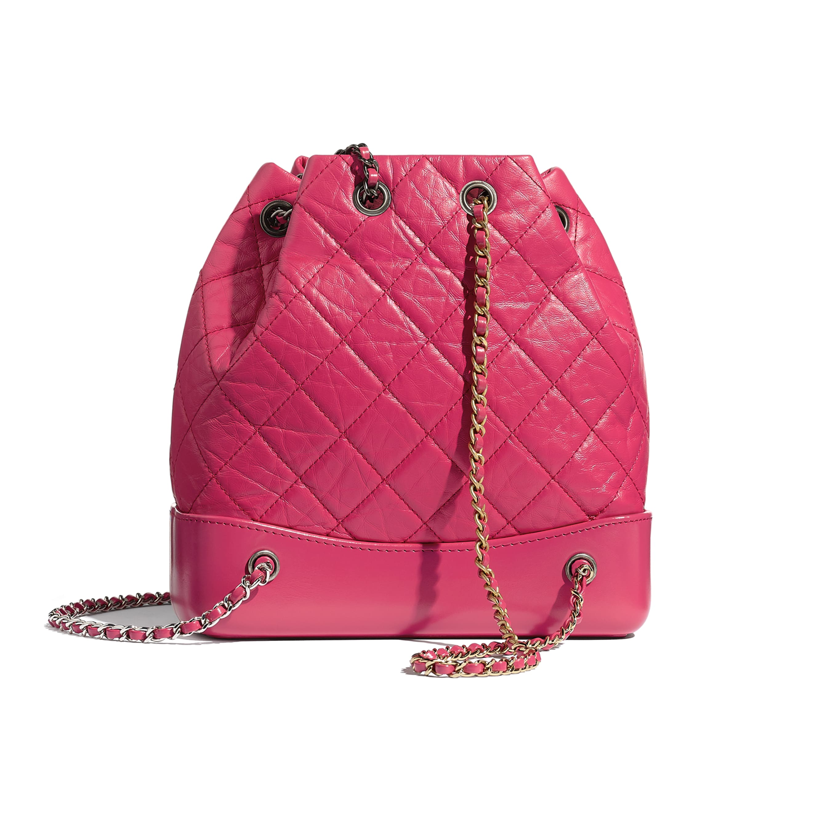 CHANEL'S GABRIELLE Small Backpack - Pink - Aged Calfskin, Smooth Calfskin, Gold-Tone, Silver-Tone & Ruthenium-Finish Metal - CHANEL - Alternative view - see standard sized version