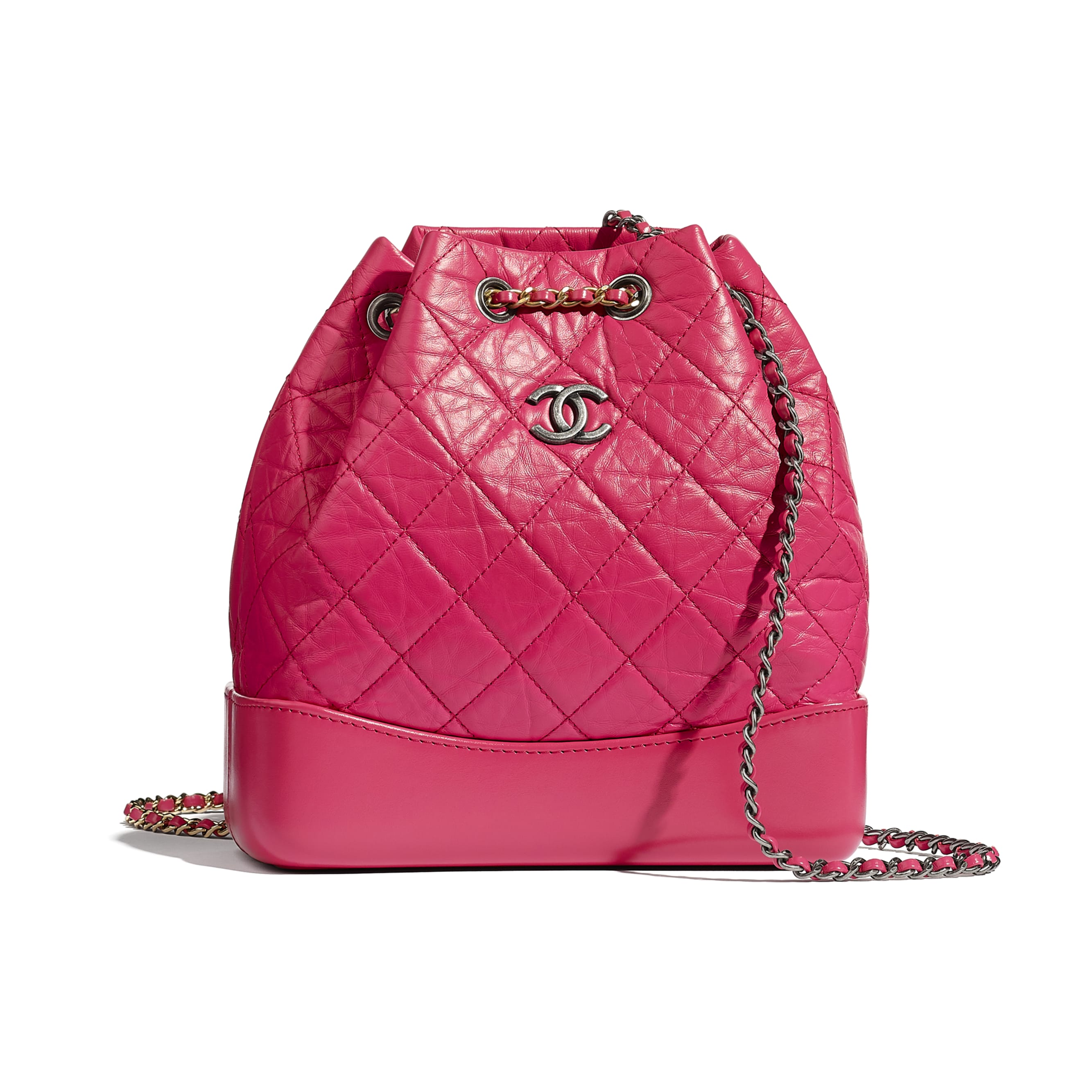 CHANEL'S GABRIELLE Small Backpack - Pink - Aged Calfskin, Smooth Calfskin, Gold-Tone, Silver-Tone & Ruthenium-Finish Metal - CHANEL - Default view - see standard sized version