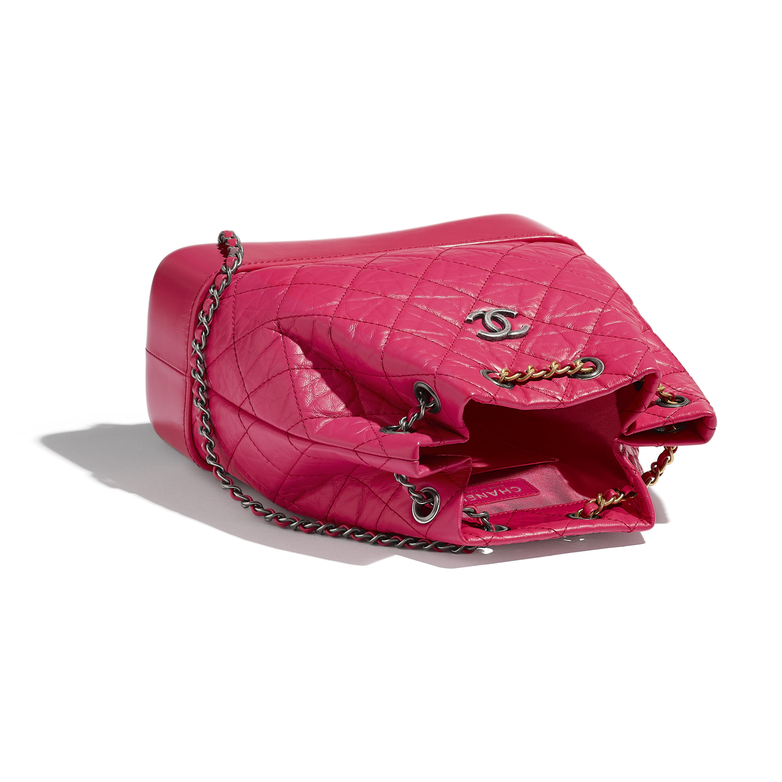 CHANEL'S GABRIELLE Small Backpack - Pink - Aged Calfskin, Smooth Calfskin, Gold-Tone, Silver-Tone & Ruthenium-Finish Metal - CHANEL - Other view - see standard sized version