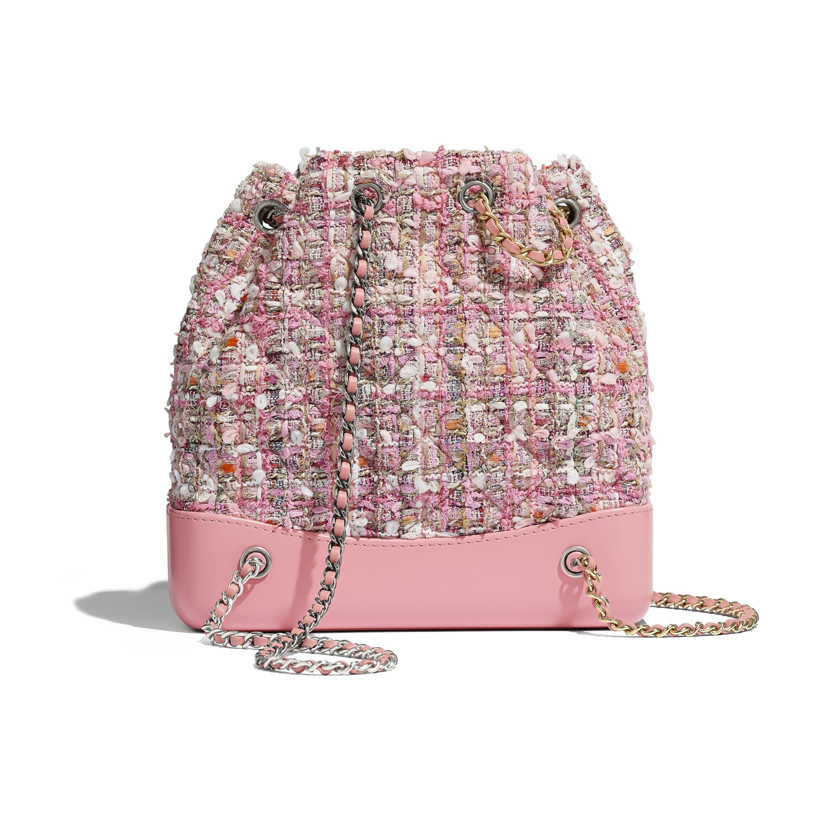 CHANEL'S GABRIELLE Small Backpack - Pink, Beige, Orange & Ecru - Tweed, Shiny Calfskin & Gold-Tone & Silver-Tone Metal - Alternative view - see standard sized version