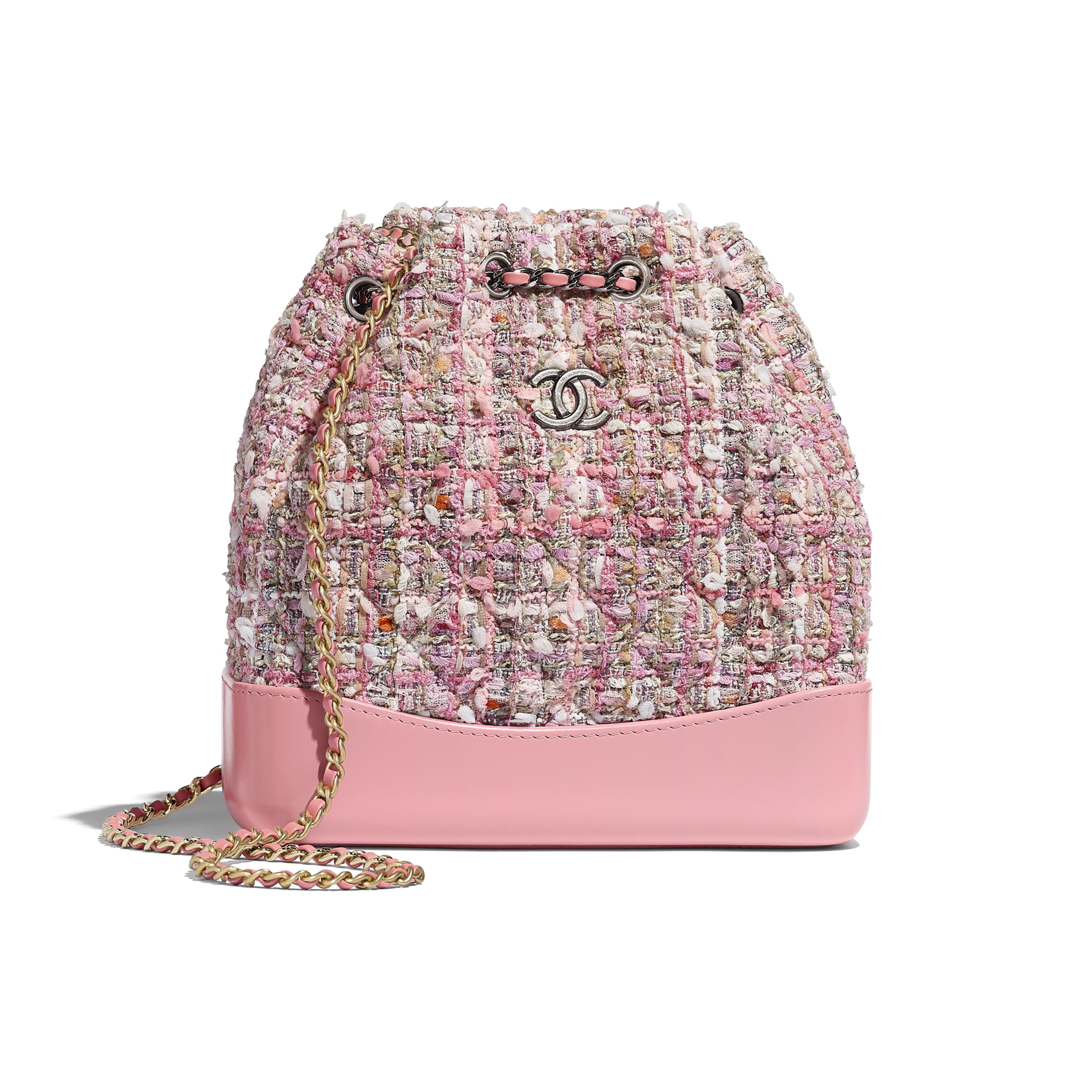 CHANEL'S GABRIELLE Small Backpack - Pink, Beige, Orange & Ecru - Tweed, Shiny Calfskin & Gold-Tone & Silver-Tone Metal - Default view - see standard sized version