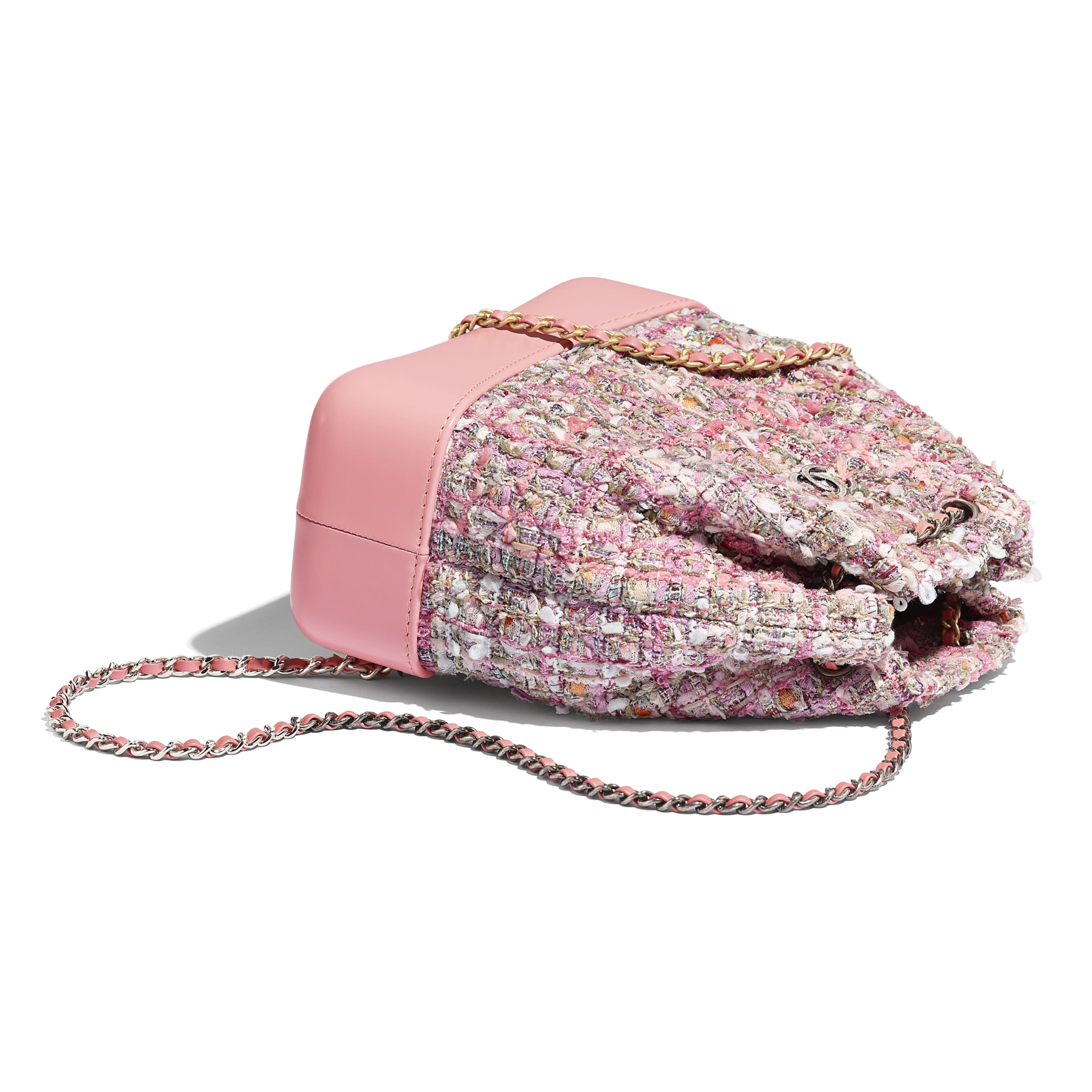 CHANEL'S GABRIELLE Small Backpack - Pink, Beige, Orange & Ecru - Tweed, Shiny Calfskin & Gold-Tone & Silver-Tone Metal - Other view - see standard sized version