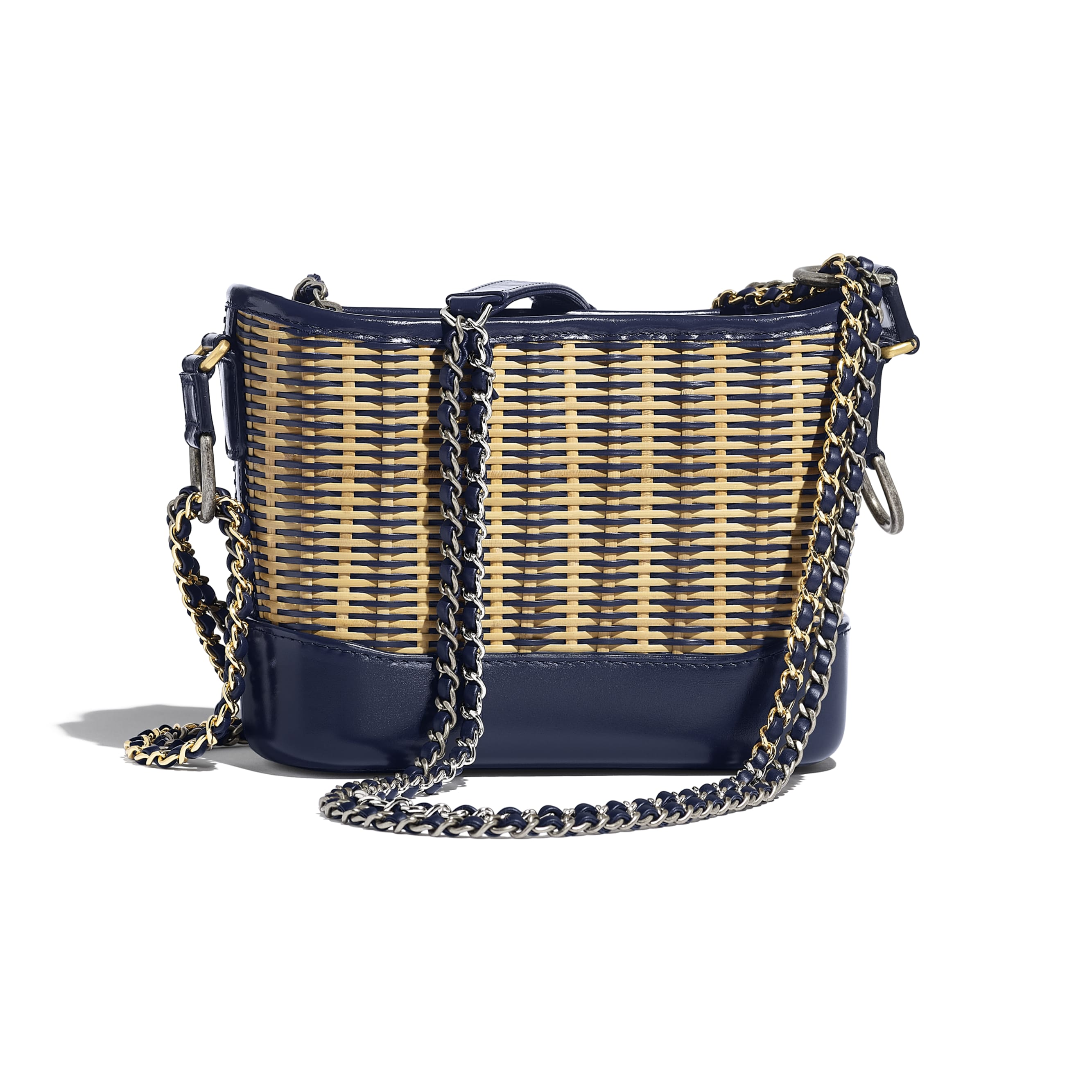 CHANEL'S GABRIELLE Small Hobo Bag - Beige & Navy Blue - Rattan, Calfskin, Gold-Tone & Silver-Tone Metal - CHANEL - Alternative view - see standard sized version