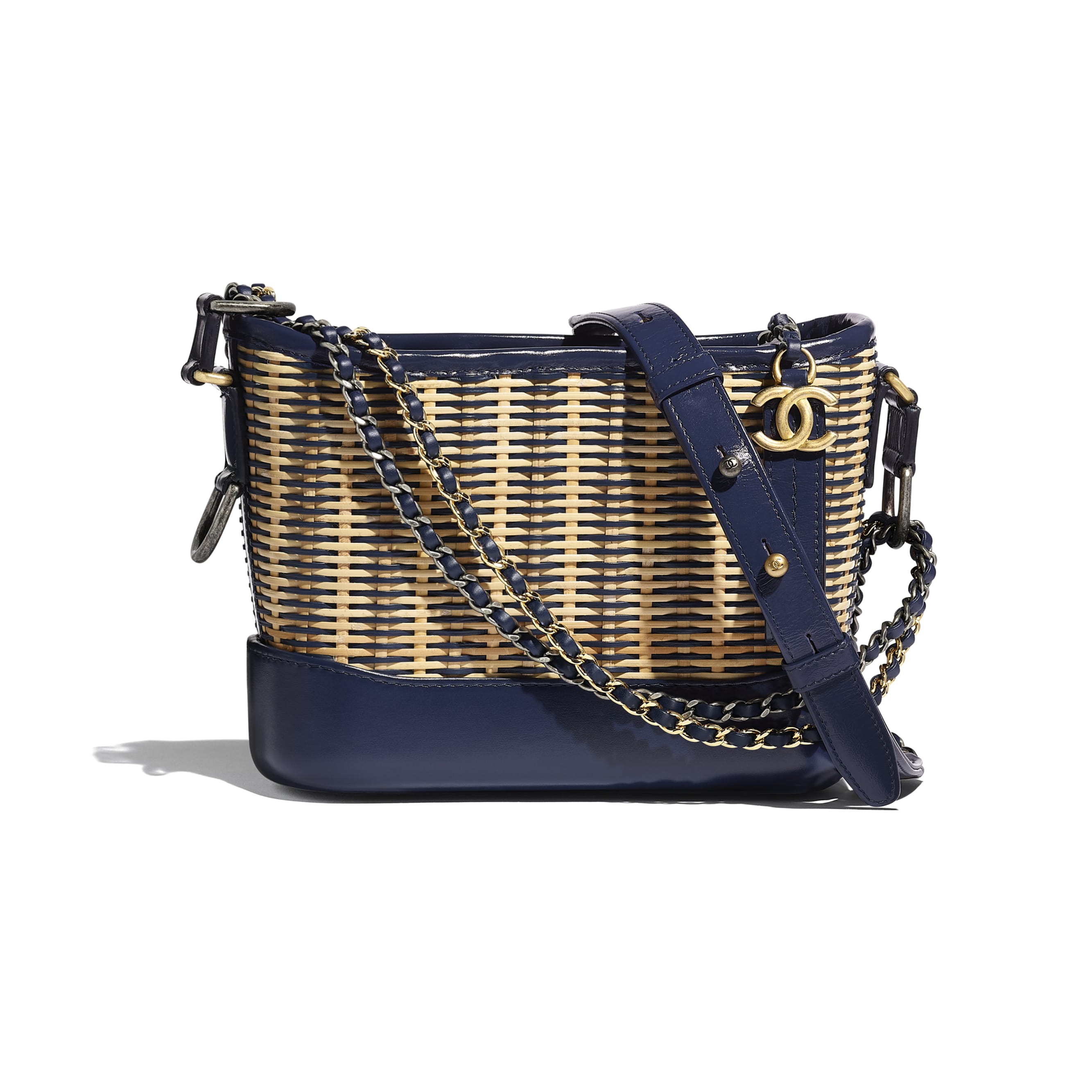 CHANEL'S GABRIELLE Small Hobo Bag - Beige & Navy Blue - Rattan, Calfskin, Gold-Tone & Silver-Tone Metal - CHANEL - Default view - see standard sized version
