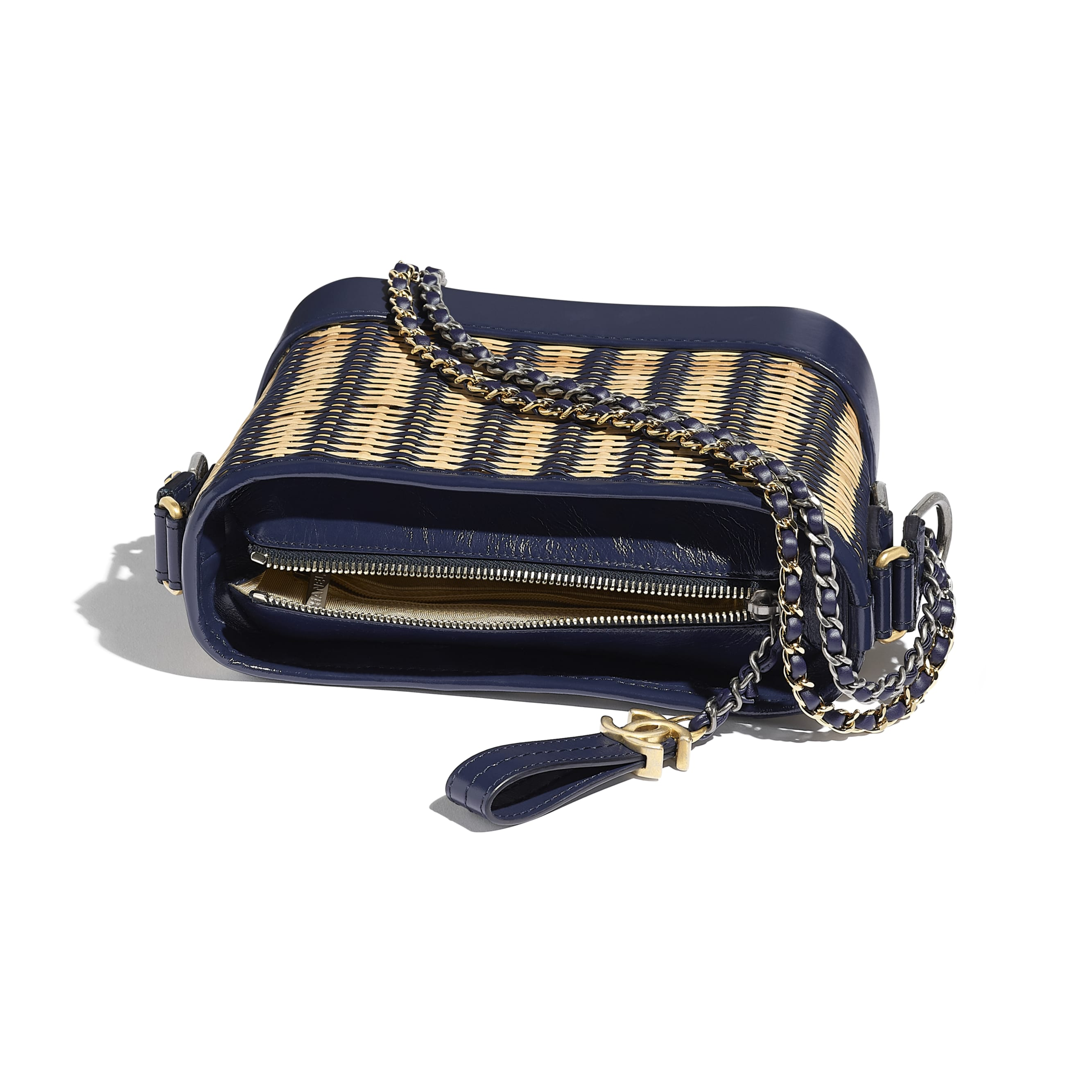 CHANEL'S GABRIELLE Small Hobo Bag - Beige & Navy Blue - Rattan, Calfskin, Gold-Tone & Silver-Tone Metal - CHANEL - Other view - see standard sized version