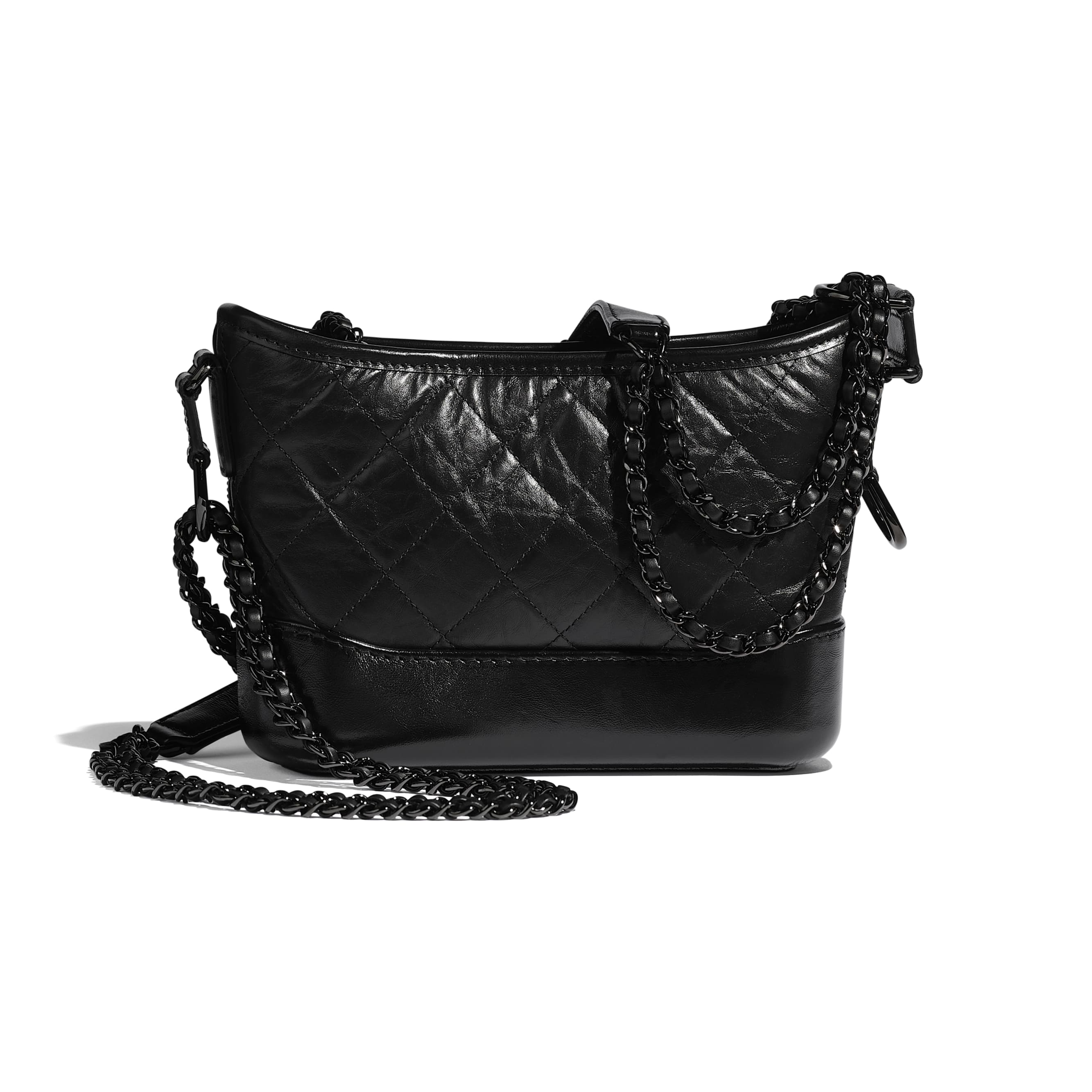 CHANEL'S GABRIELLE Small Hobo Bag - Black - Aged Calfskin, Smooth Calfskin & Black Metal - Alternative view - see standard sized version
