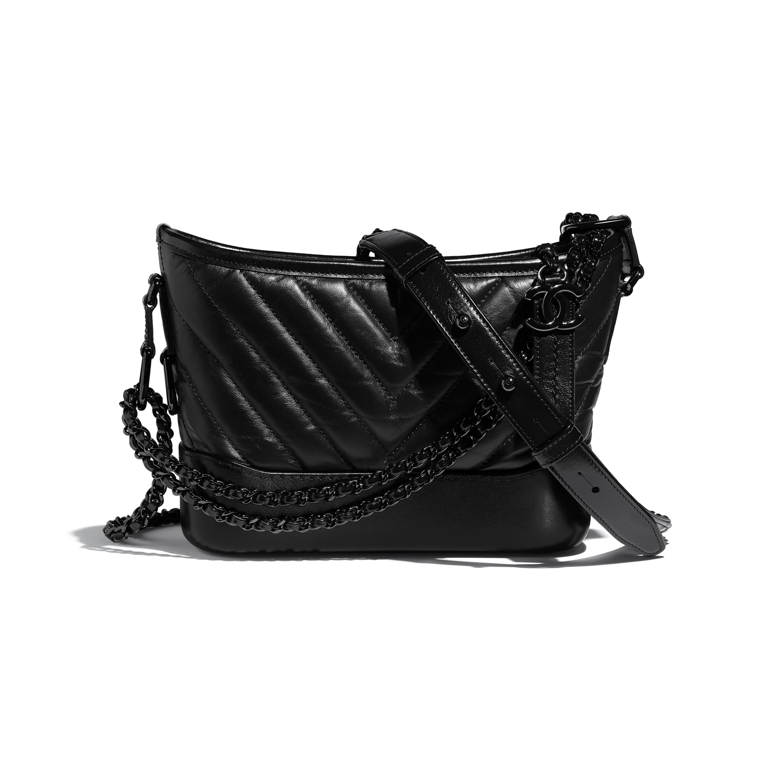 CHANEL'S GABRIELLE сумка hobo маленького размера - Черный - Состаренная кожа теленка, гладкая кожа теленка и черный металл - Вид по умолчанию - посмотреть изображение стандартного размера