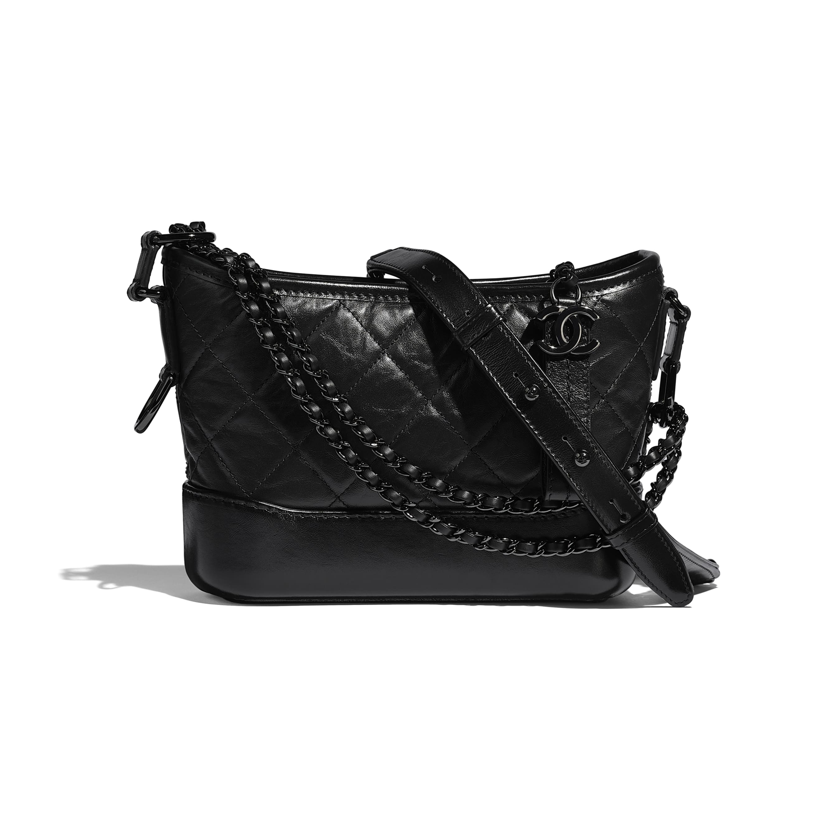 CHANEL'S GABRIELLE Small Hobo Bag - Black - Aged Calfskin, Smooth Calfskin & Black Metal - Default view - see standard sized version