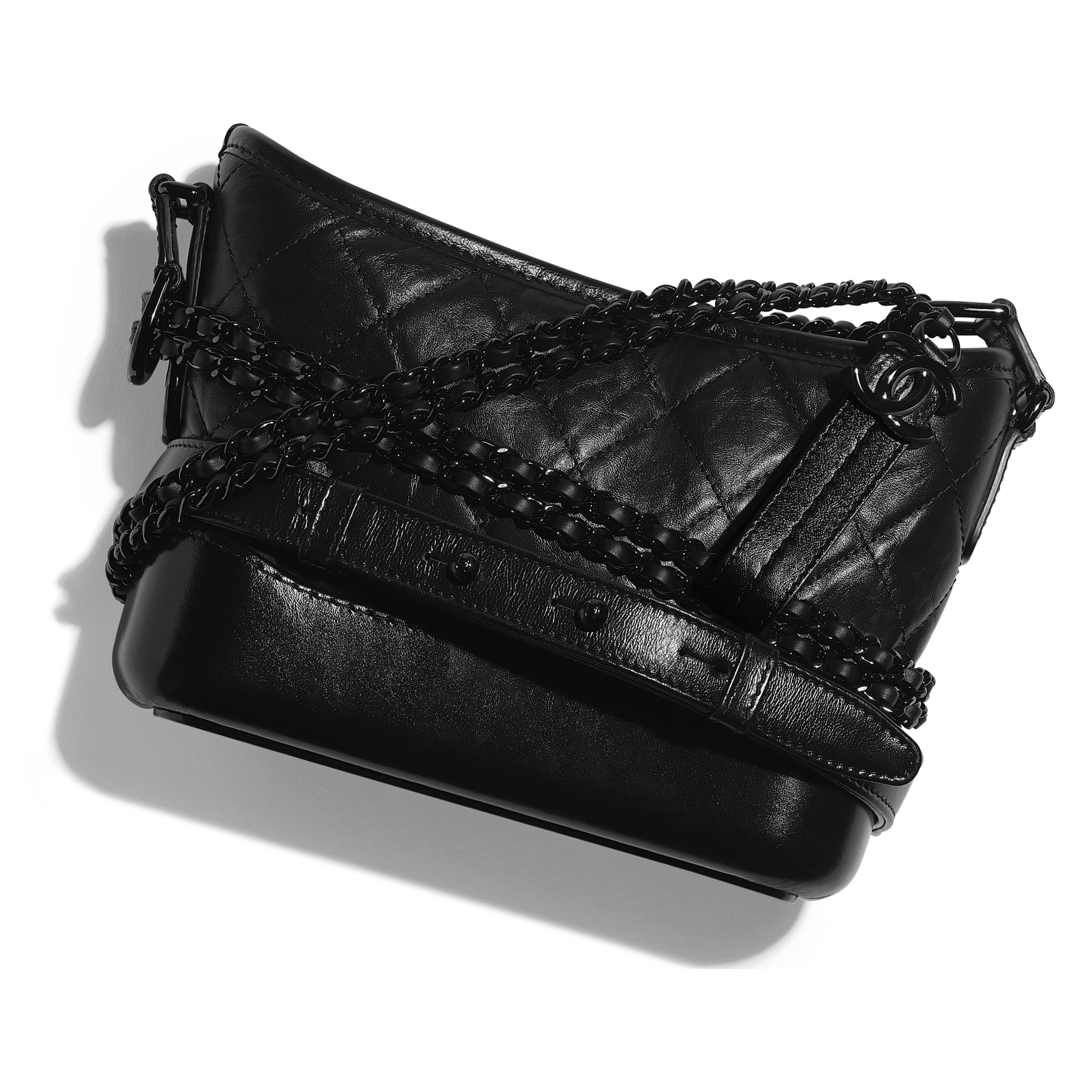 CHANEL'S GABRIELLE Small Hobo Bag - Black - Aged Calfskin, Smooth Calfskin & Black Metal - Extra view - see standard sized version