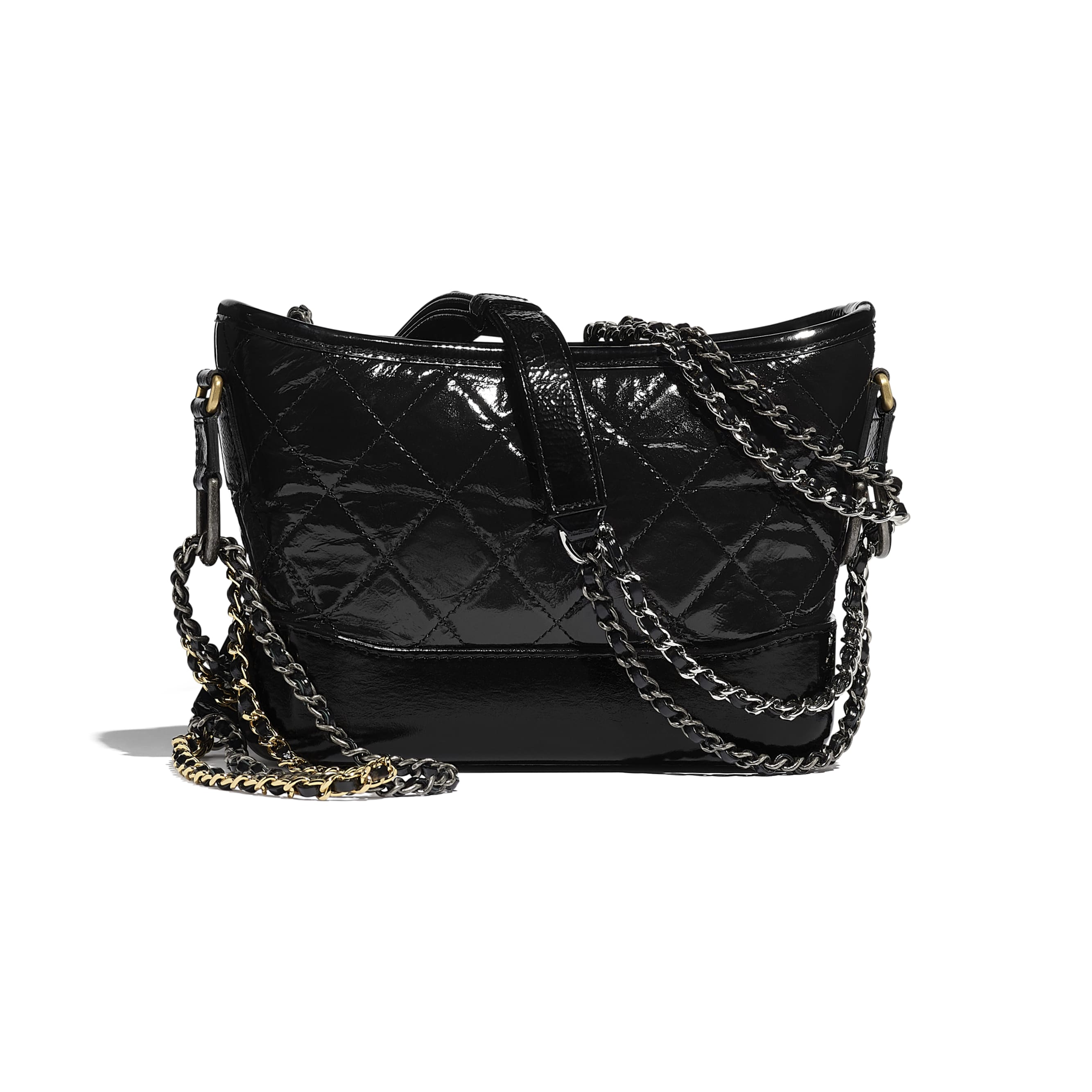 CHANEL'S GABRIELLE Small Hobo Bag - Black - Aged Calfskin, Smooth Calfskin, Gold-Tone, Silver-Tone & Ruthenium-Finish Metal - CHANEL - Alternative view - see standard sized version