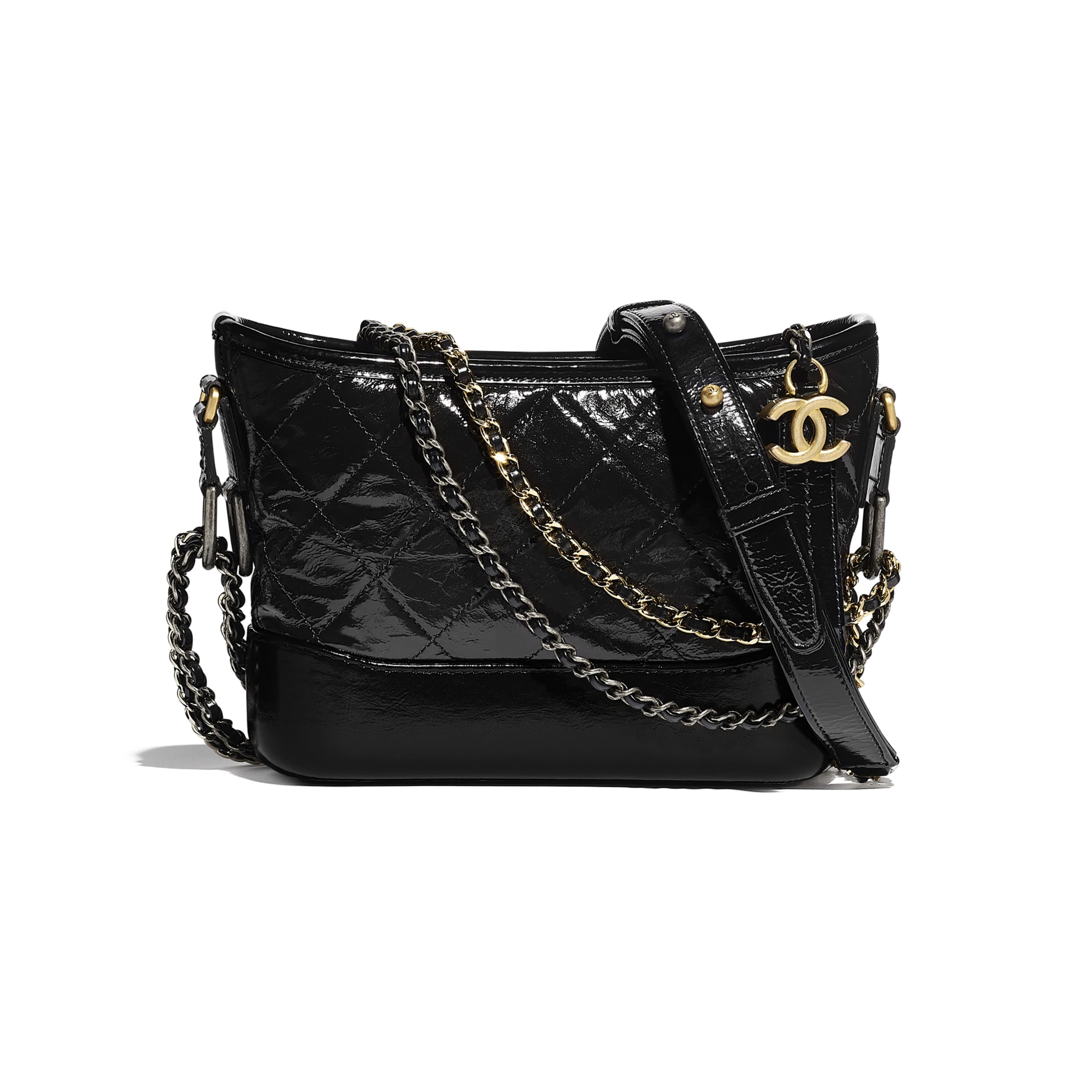 CHANEL'S GABRIELLE Small Hobo Bag - Black - Aged Calfskin, Smooth Calfskin, Gold-Tone, Silver-Tone & Ruthenium-Finish Metal - CHANEL - Default view - see standard sized version