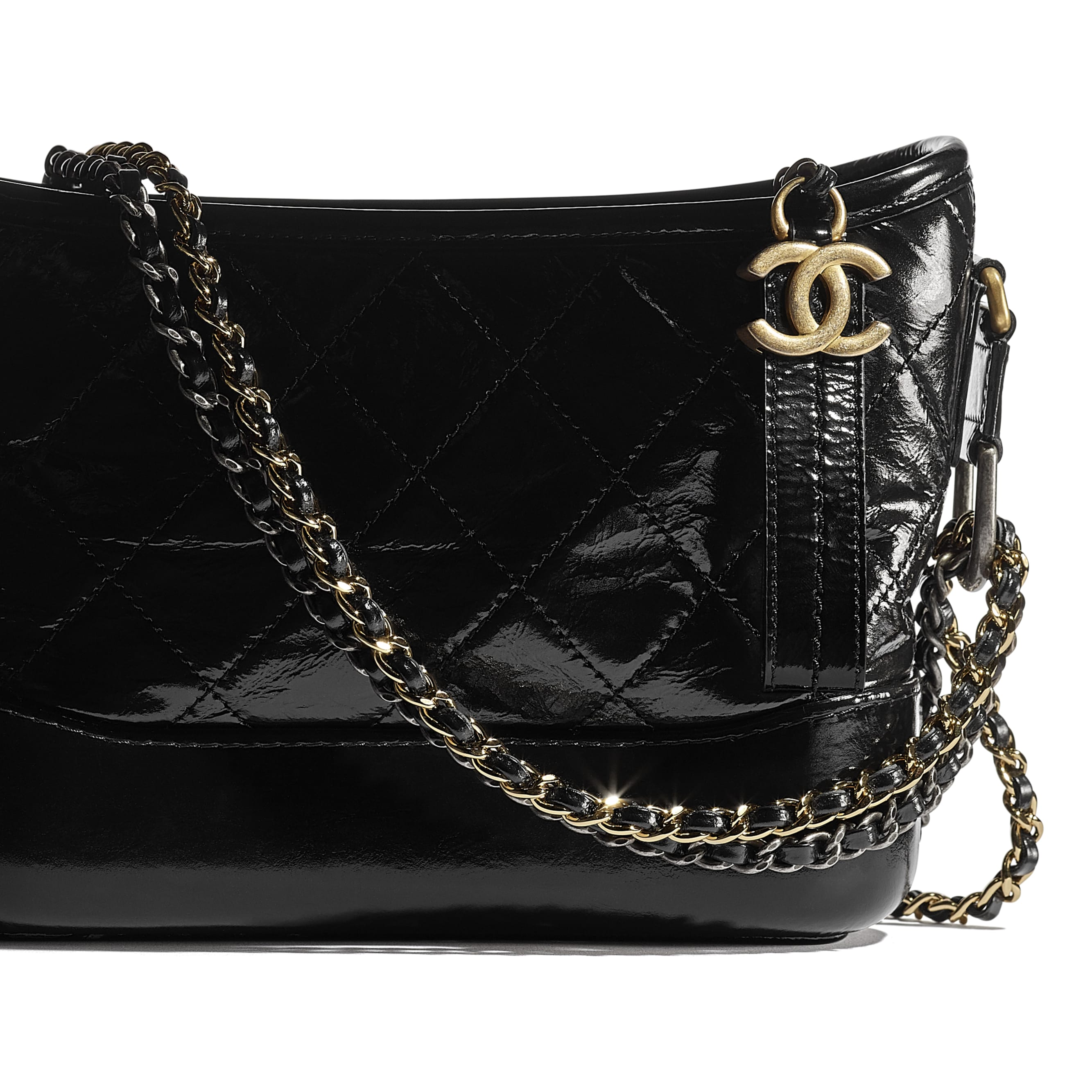 CHANEL'S GABRIELLE Small Hobo Bag - Black - Aged Calfskin, Smooth Calfskin, Gold-Tone, Silver-Tone & Ruthenium-Finish Metal - CHANEL - Extra view - see standard sized version