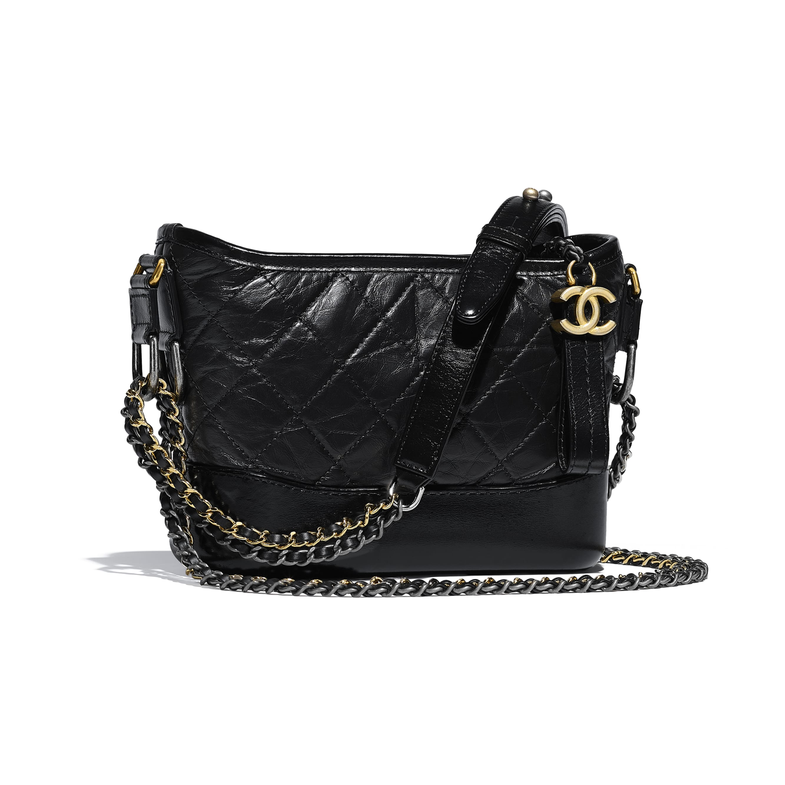 CHANEL'S GABRIELLE Small Hobo Bag - Black - Aged Calfskin, Smooth Calfskin, Gold-Tone, Silver-Tone & Ruthenium-Finish Metal - CHANEL - Other view - see standard sized version