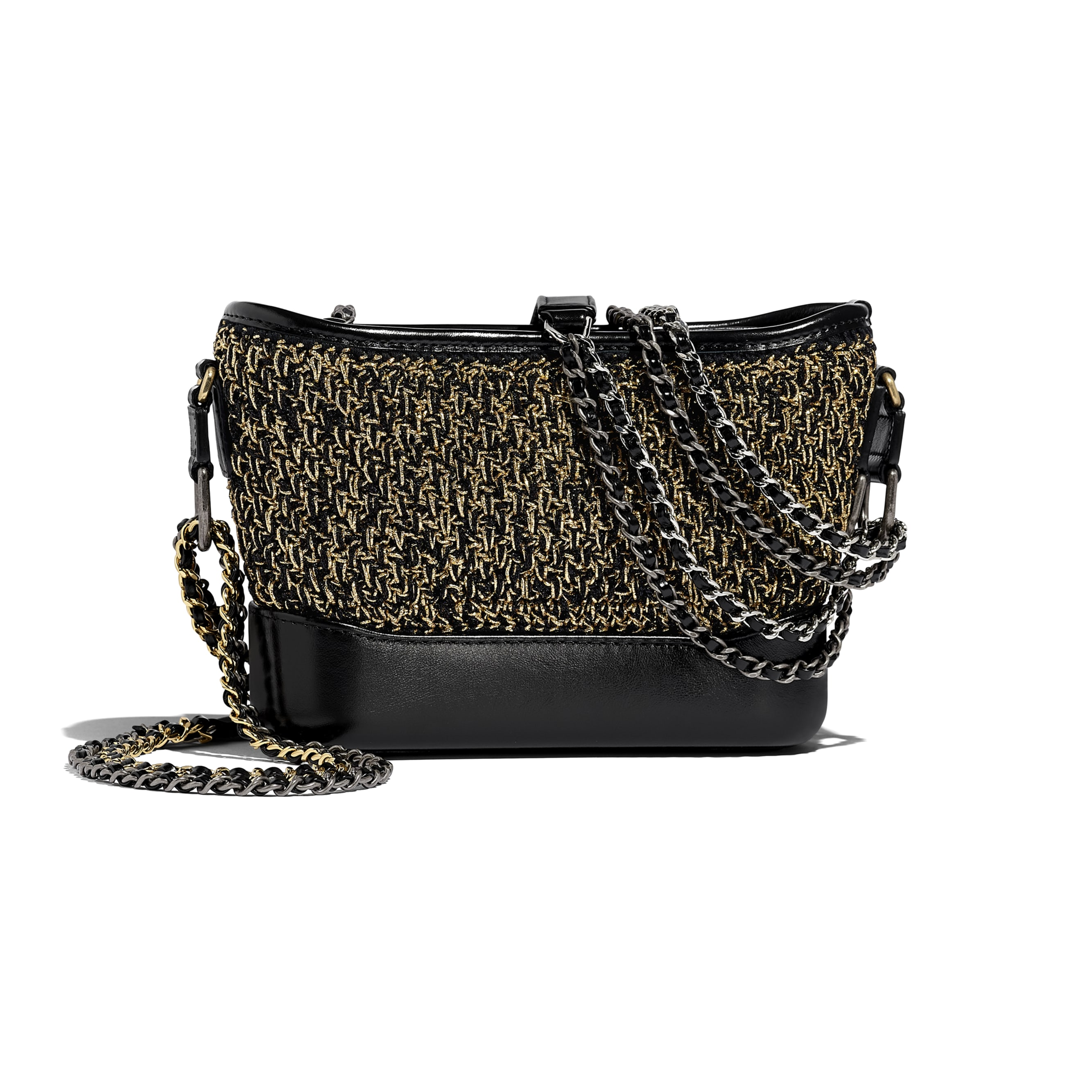 CHANEL'S GABRIELLE Small Hobo Bag - Black & Gold - Cotton, Calfskin, Gold-Tone & Silver-Tone Metal - Alternative view - see standard sized version