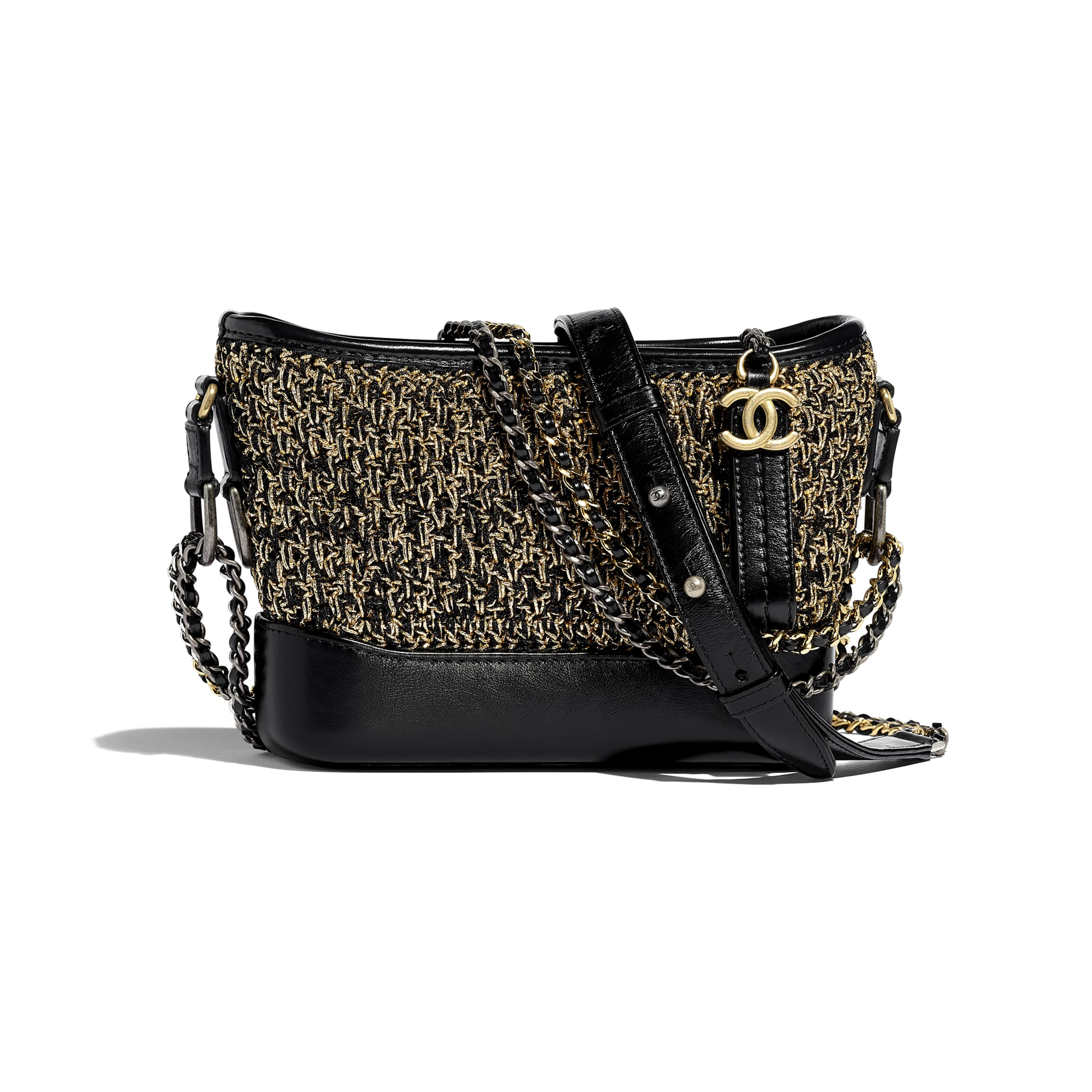 CHANEL'S GABRIELLE Small Hobo Bag - Black & Gold - Cotton, Calfskin, Gold-Tone & Silver-Tone Metal - Default view - see standard sized version