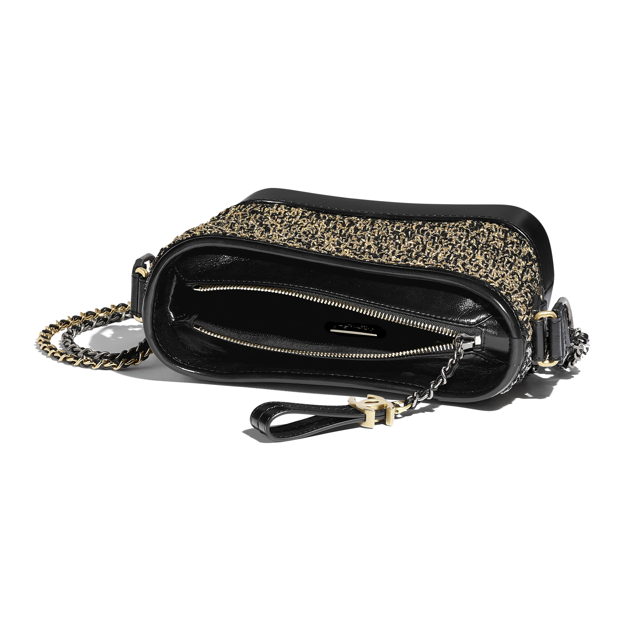 CHANEL'S GABRIELLE Small Hobo Bag - Black & Gold - Cotton, Calfskin, Gold-Tone & Silver-Tone Metal - Other view - see standard sized version