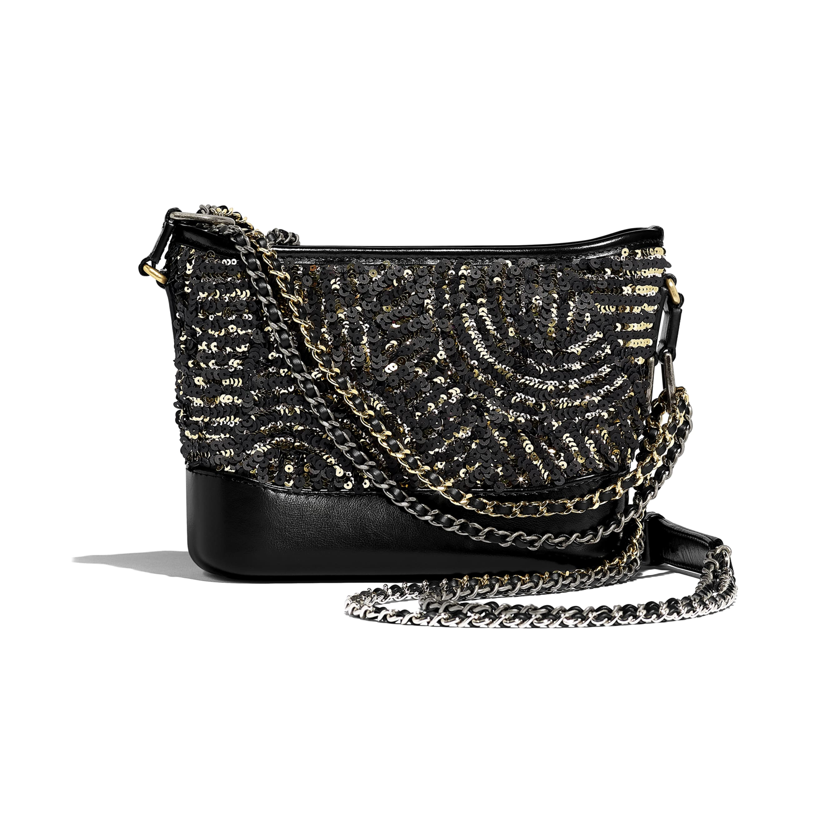 CHANEL'S GABRIELLE Small Hobo Bag - Black & Gold - Sequin, Calfskin, Gold-Tone & Silver-Tone Metal - Alternative view - see standard sized version