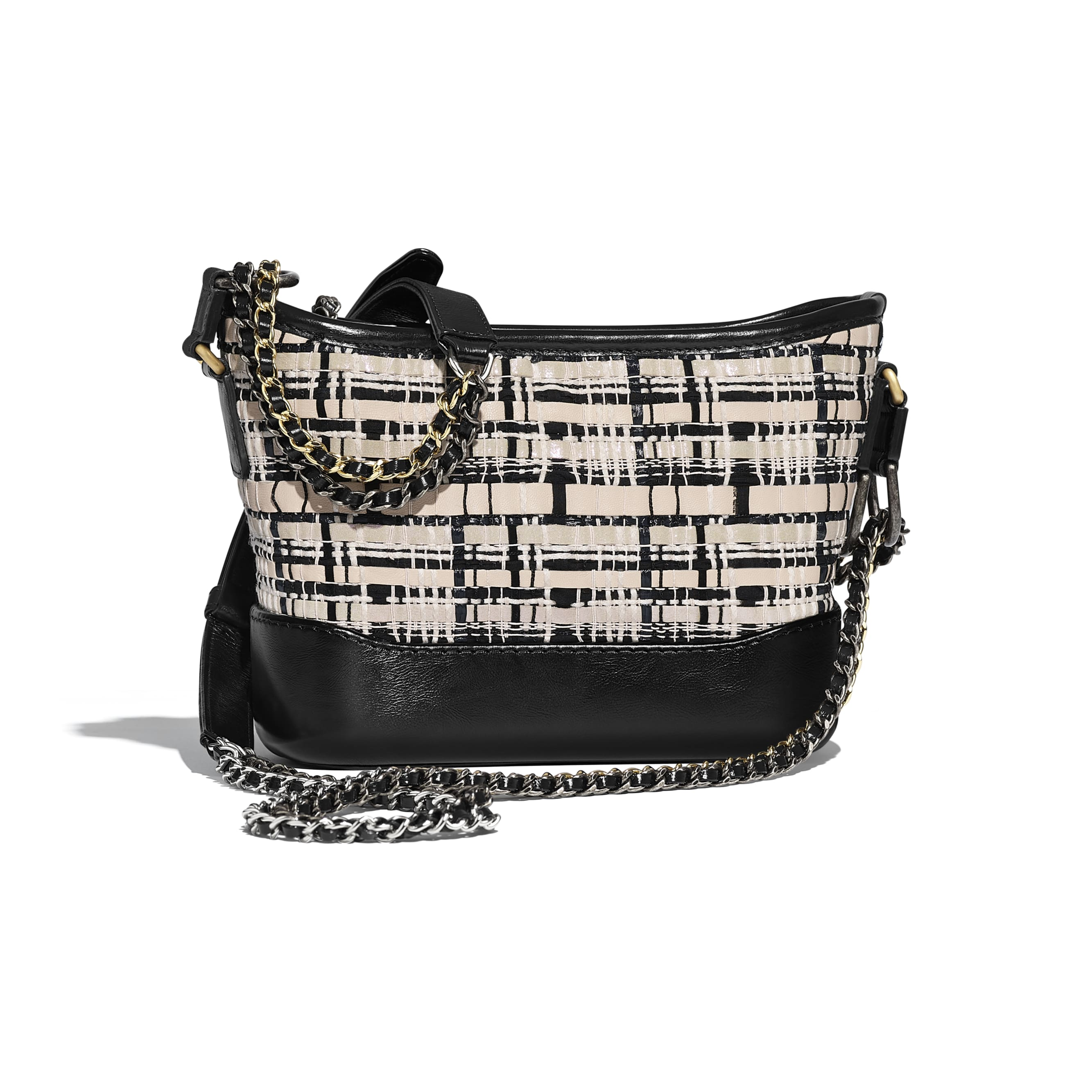 CHANEL'S GABRIELLE Small Hobo Bag - Black & Light Beige - Lambskin, Calfskin, Viscose Weaving & Gold-Tone Metal - Alternative view - see standard sized version