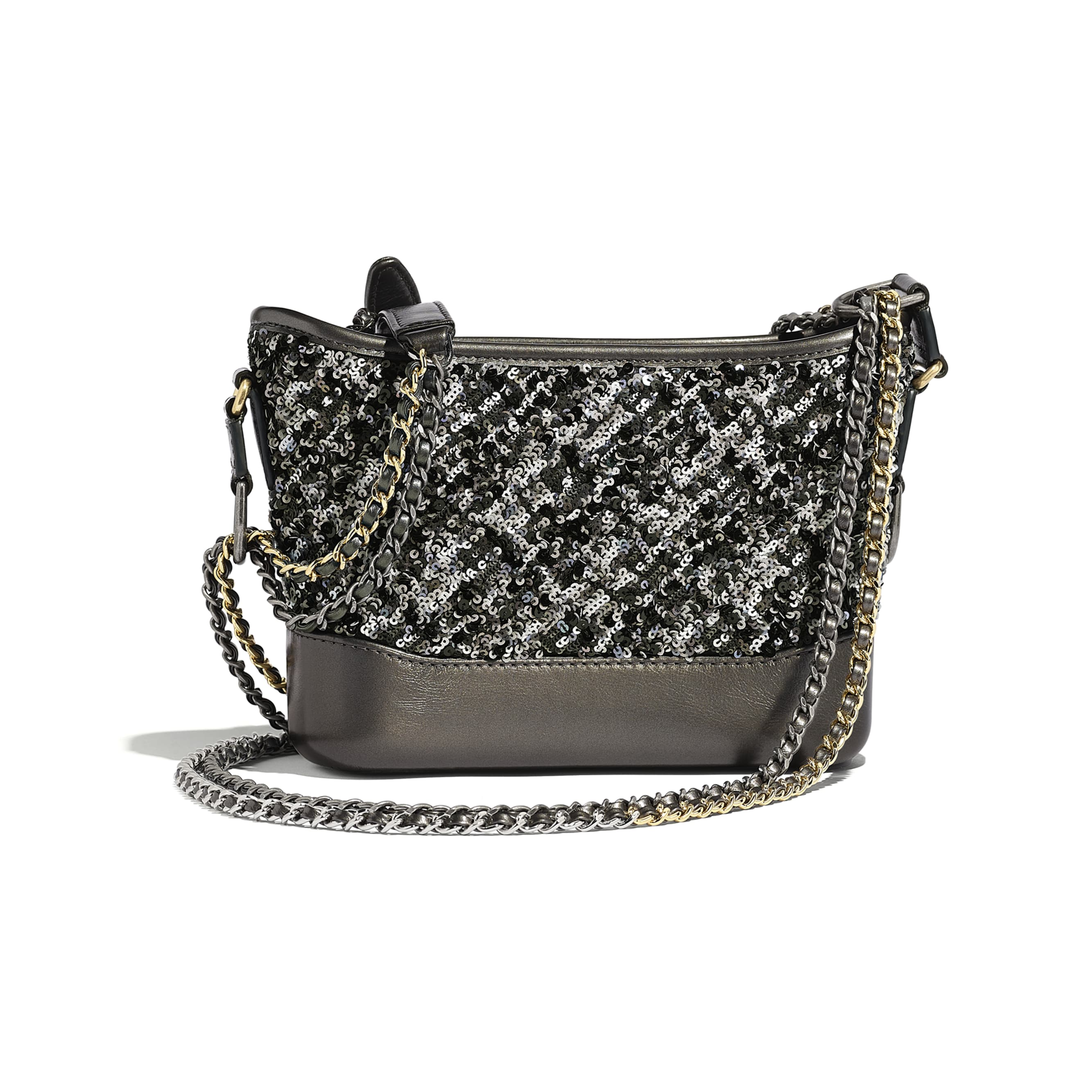 CHANEL'S GABRIELLE Small Hobo Bag - Black - Sequins, Calfksin, Silver-Tone & Gold-Tone Metal - Alternative view - see standard sized version