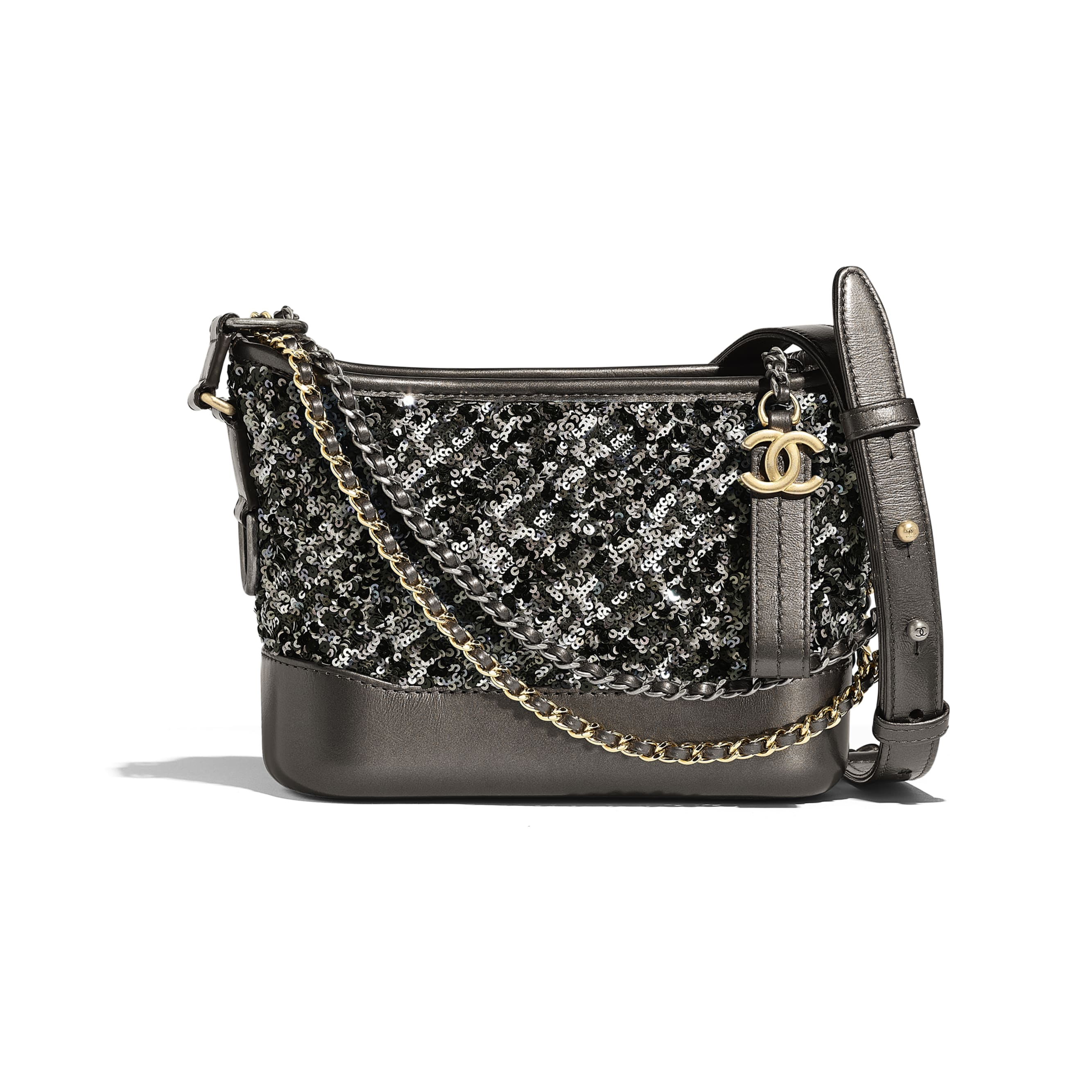 CHANEL'S GABRIELLE Small Hobo Bag - Black - Sequins, Calfksin, Silver-Tone & Gold-Tone Metal - Default view - see standard sized version