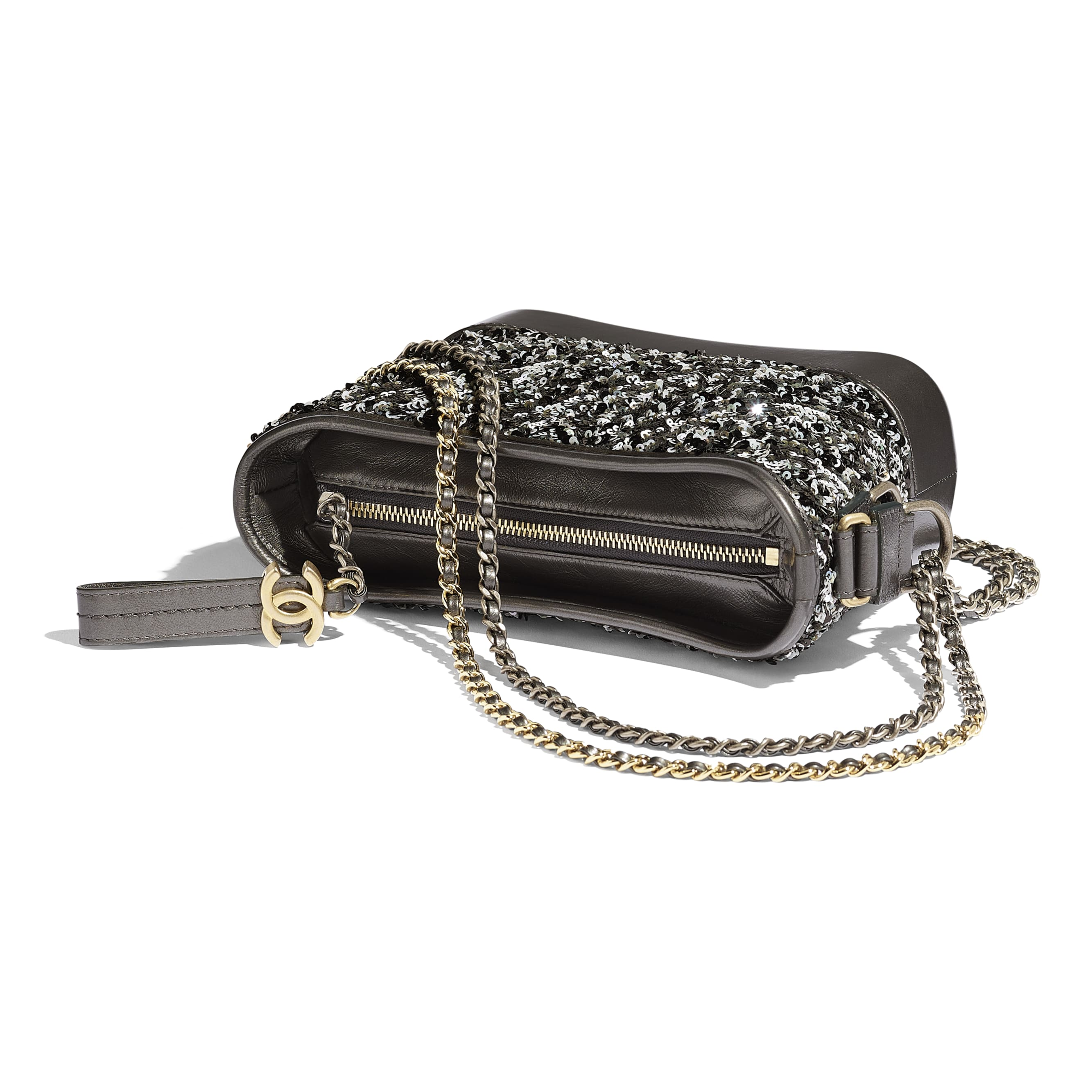 CHANEL'S GABRIELLE Small Hobo Bag - Black - Sequins, Calfksin, Silver-Tone & Gold-Tone Metal - Other view - see standard sized version