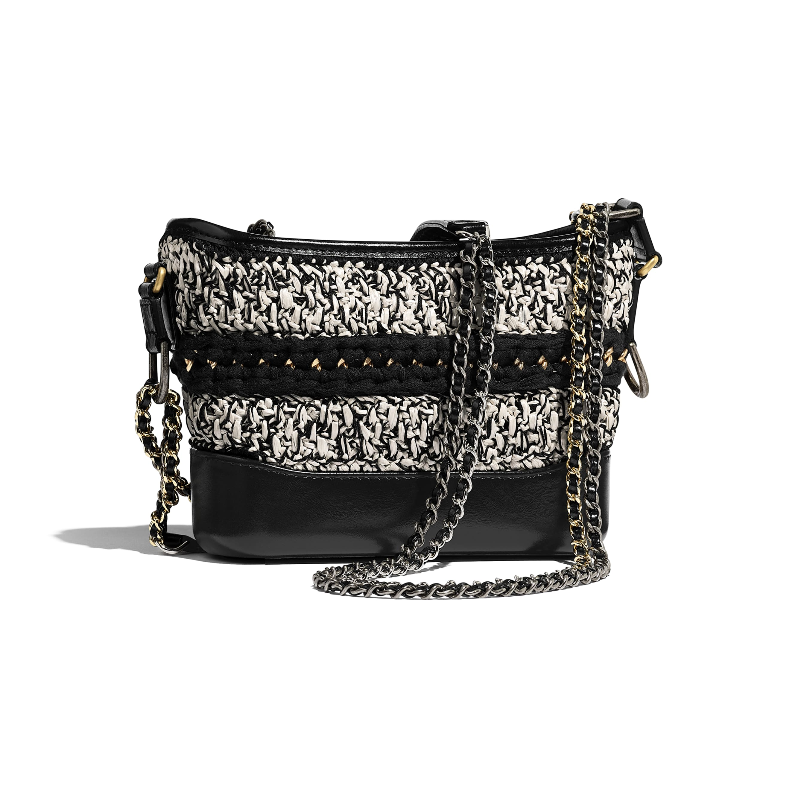 CHANEL'S GABRIELLE Small Hobo Bag - Black & White - Mixed Fibers, Calfskin, Gold-Tone & Silver-Tone Metal - CHANEL - Alternative view - see standard sized version