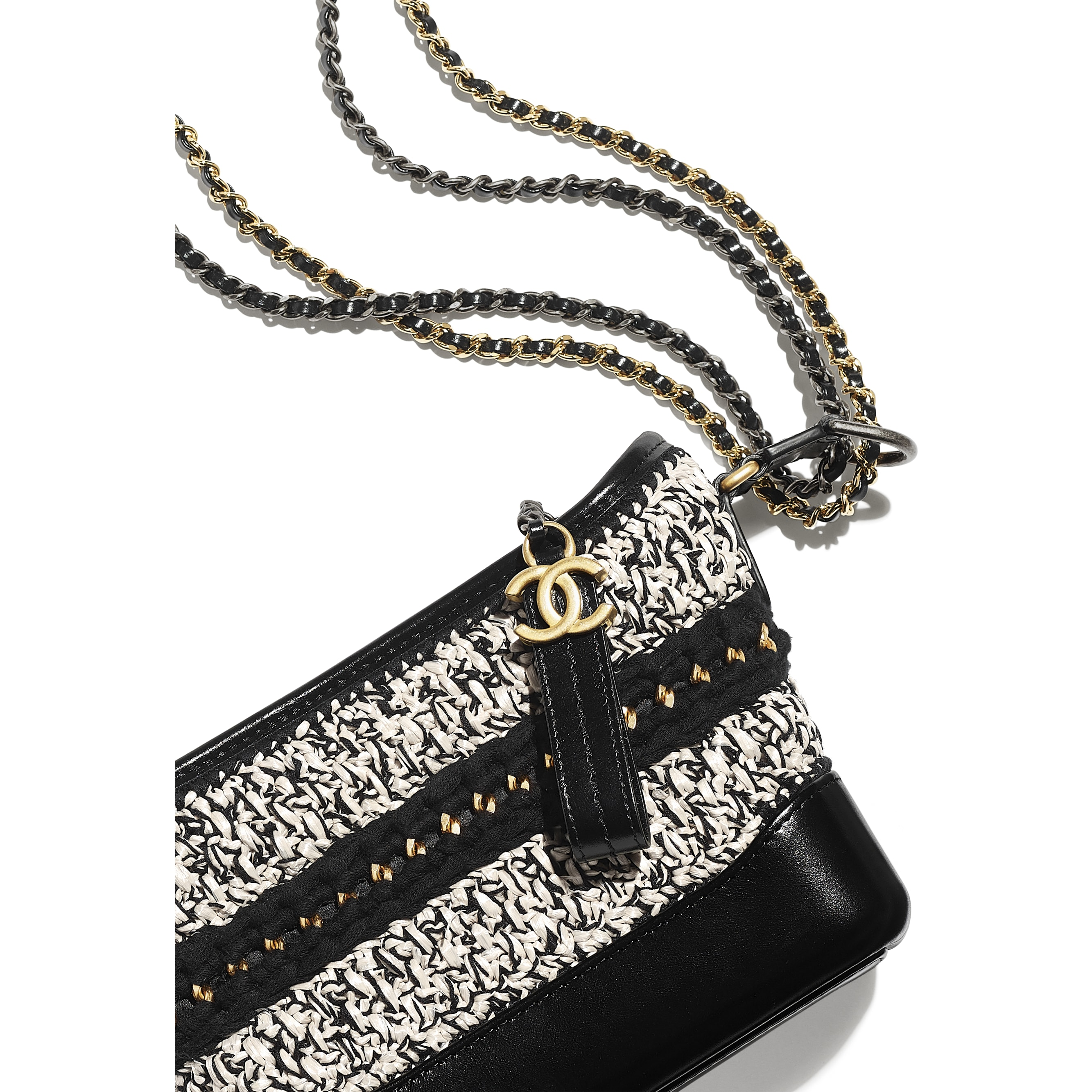 CHANEL'S GABRIELLE Small Hobo Bag - Black & White - Mixed Fibres, Calfskin, Gold-Tone, Silver-Tone & Ruthenium-Finish Metal - CHANEL - Extra view - see standard sized version