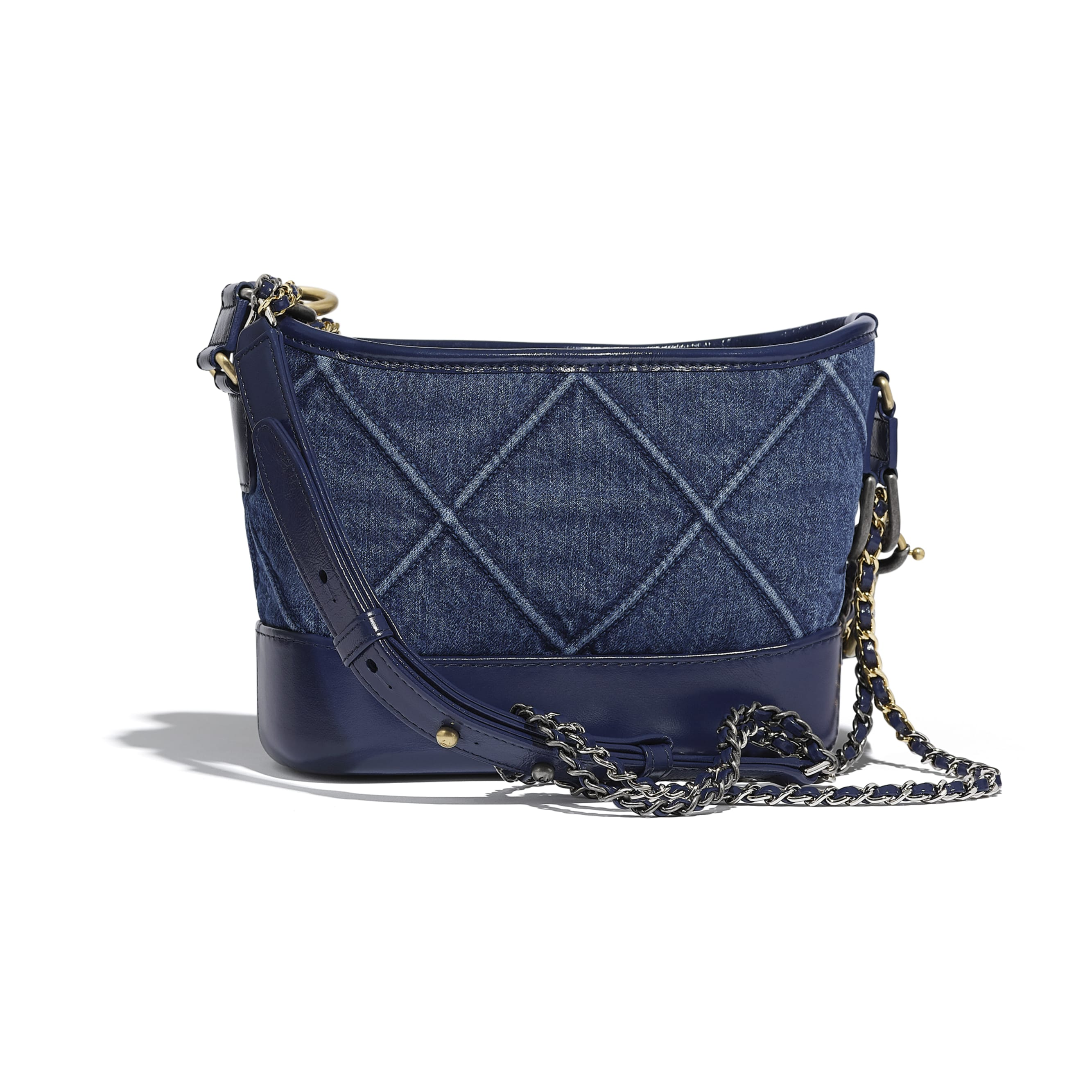 CHANEL'S GABRIELLE Small Hobo Bag - Blue - Denim, Calfskin, Gold-Tone, Silver-Tone & Ruthenium-Finish Metal - Alternative view - see standard sized version