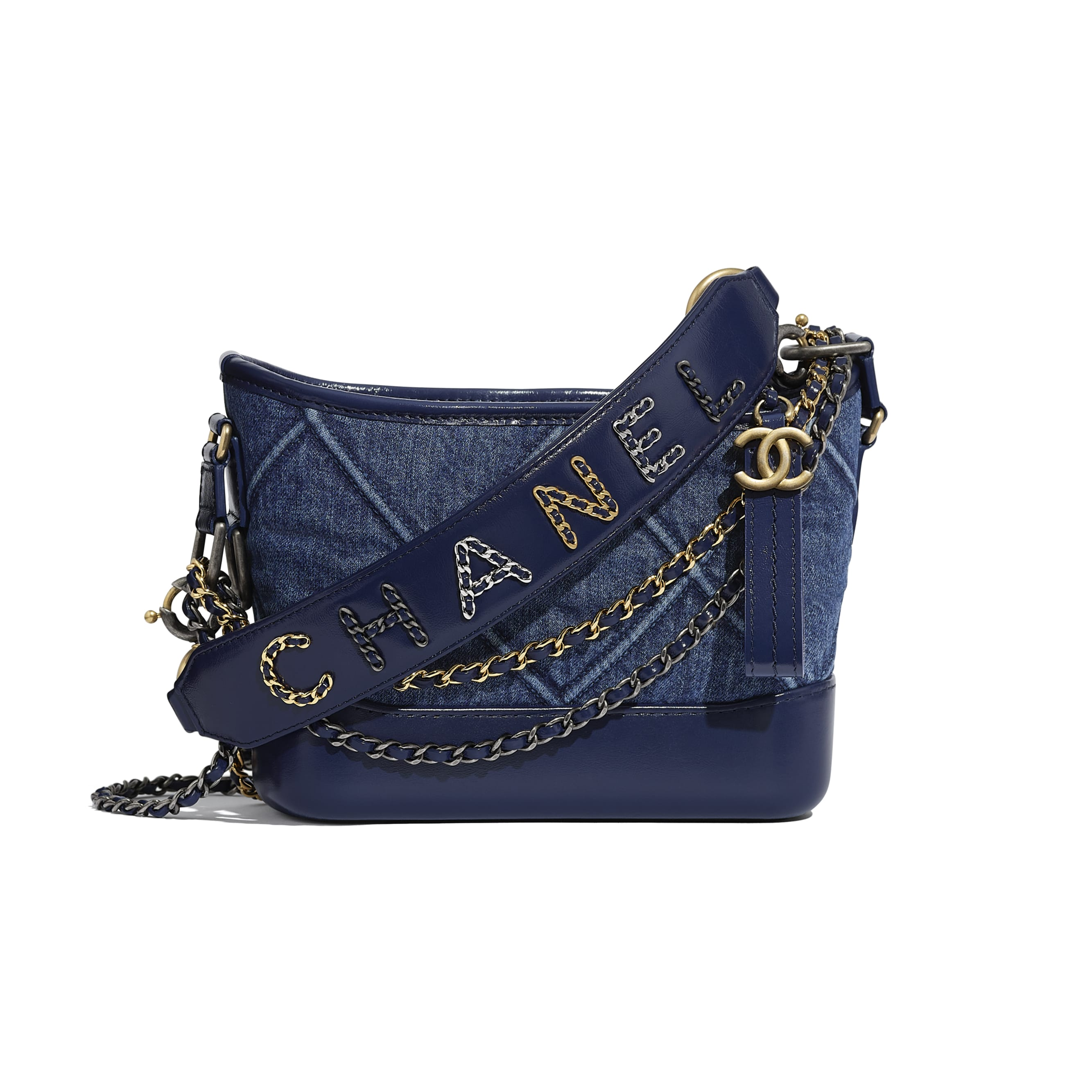 CHANEL'S GABRIELLE Small Hobo Bag - Blue - Denim, Calfskin, Gold-Tone, Silver-Tone & Ruthenium-Finish Metal - Default view - see standard sized version