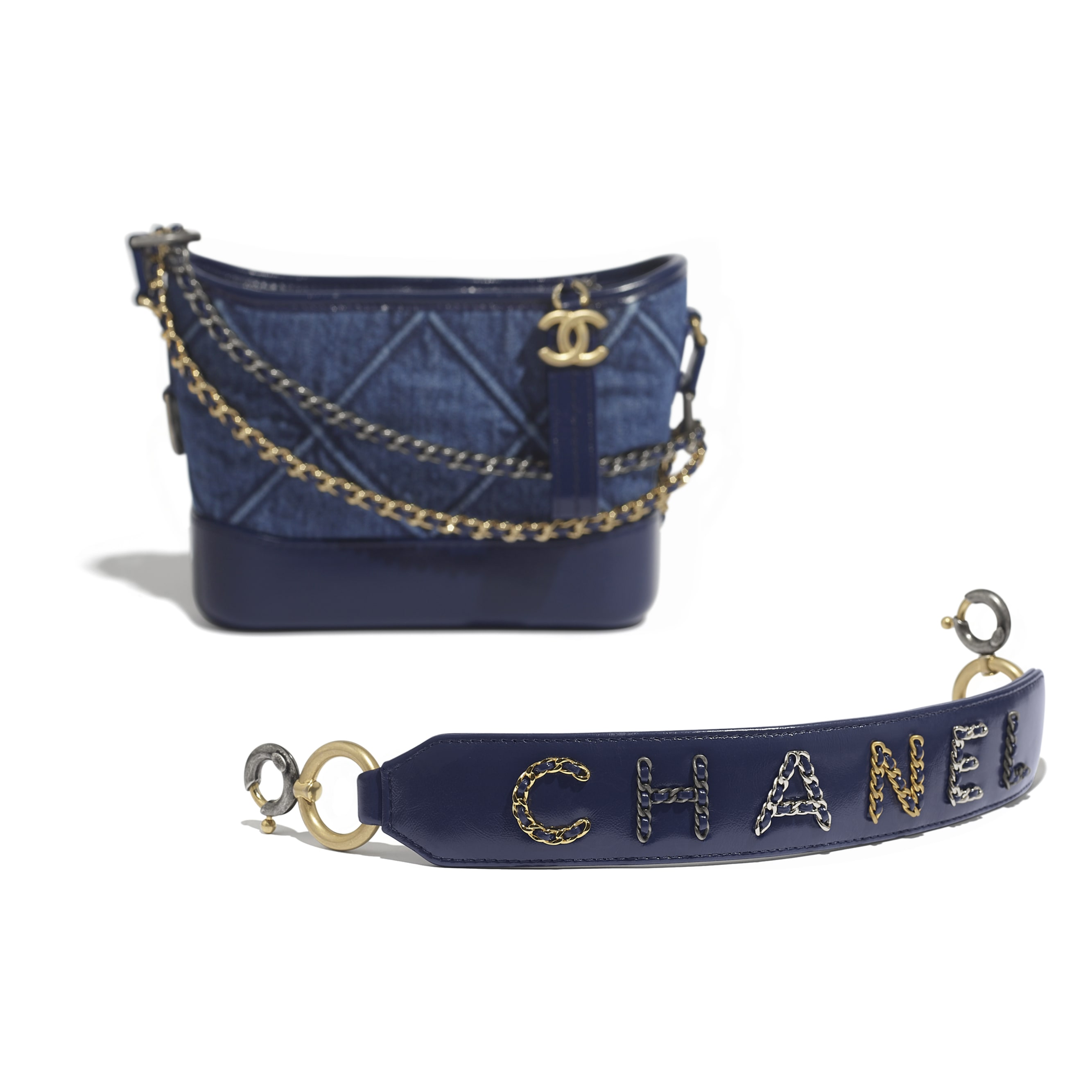CHANEL'S GABRIELLE Small Hobo Bag - Blue - Denim, Calfskin, Gold-Tone, Silver-Tone & Ruthenium-Finish Metal - Extra view - see standard sized version