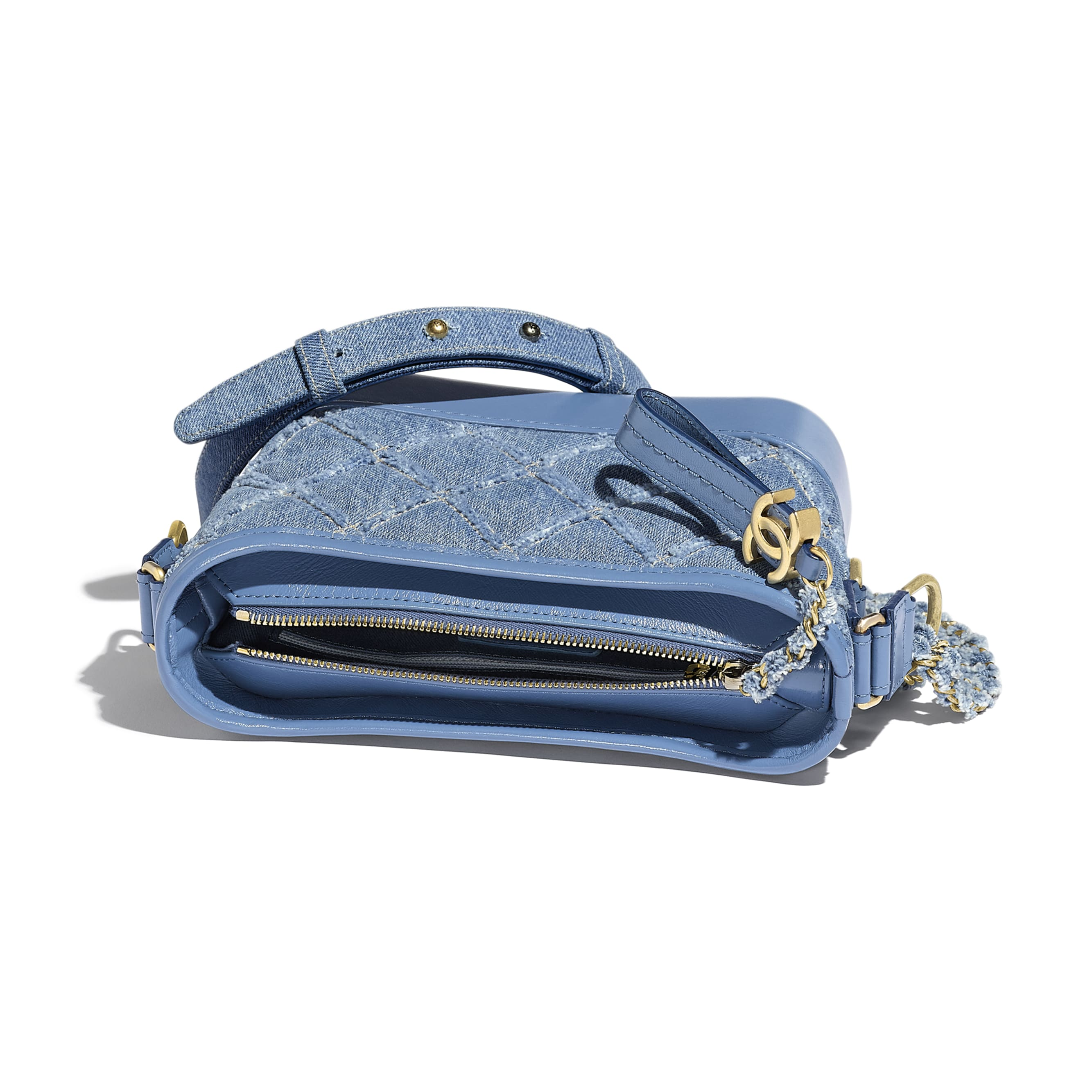 CHANEL'S GABRIELLE Small Hobo Bag - Blue - Denim, Calfskin, Gold-Tone, Silver-Tone & Ruthenium-Finish Metal - Other view - see standard sized version