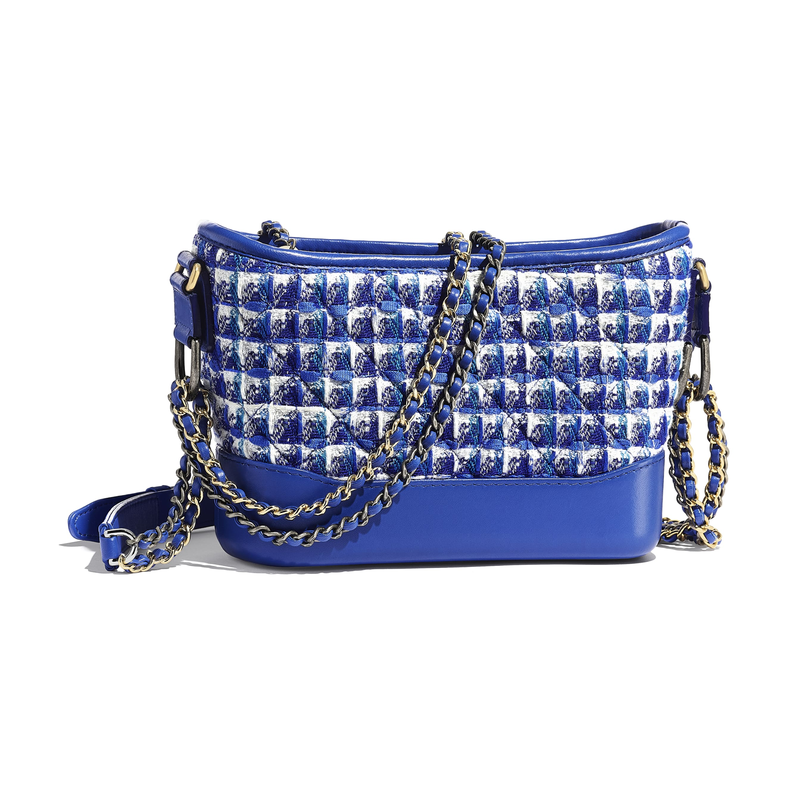 CHANEL'S GABRIELLE Small Hobo Bag - Blue, White & Silver - Tweed, Calfskin, Silver-Tone & Gold-Tone Metal - CHANEL - Alternative view - see standard sized version